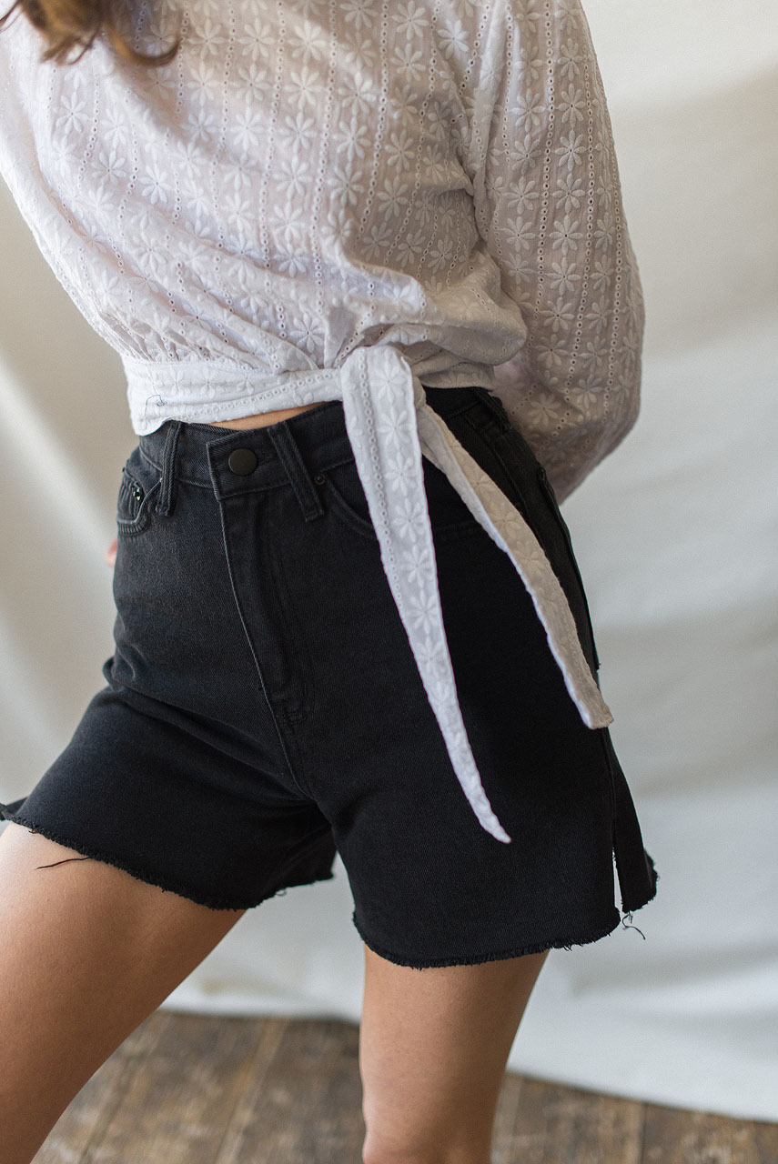 Mona Black Denim Short, Black