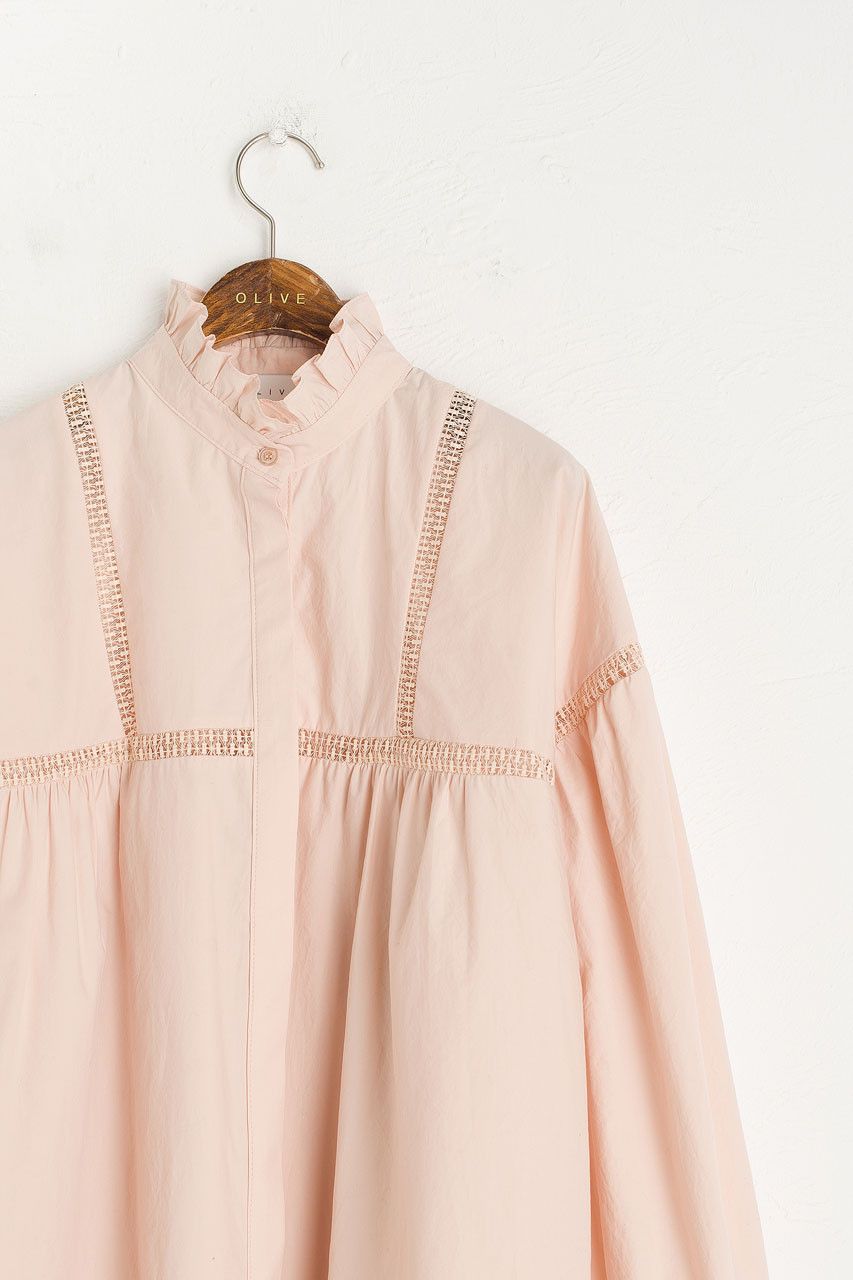 Victoria Frill Blouse, Pink