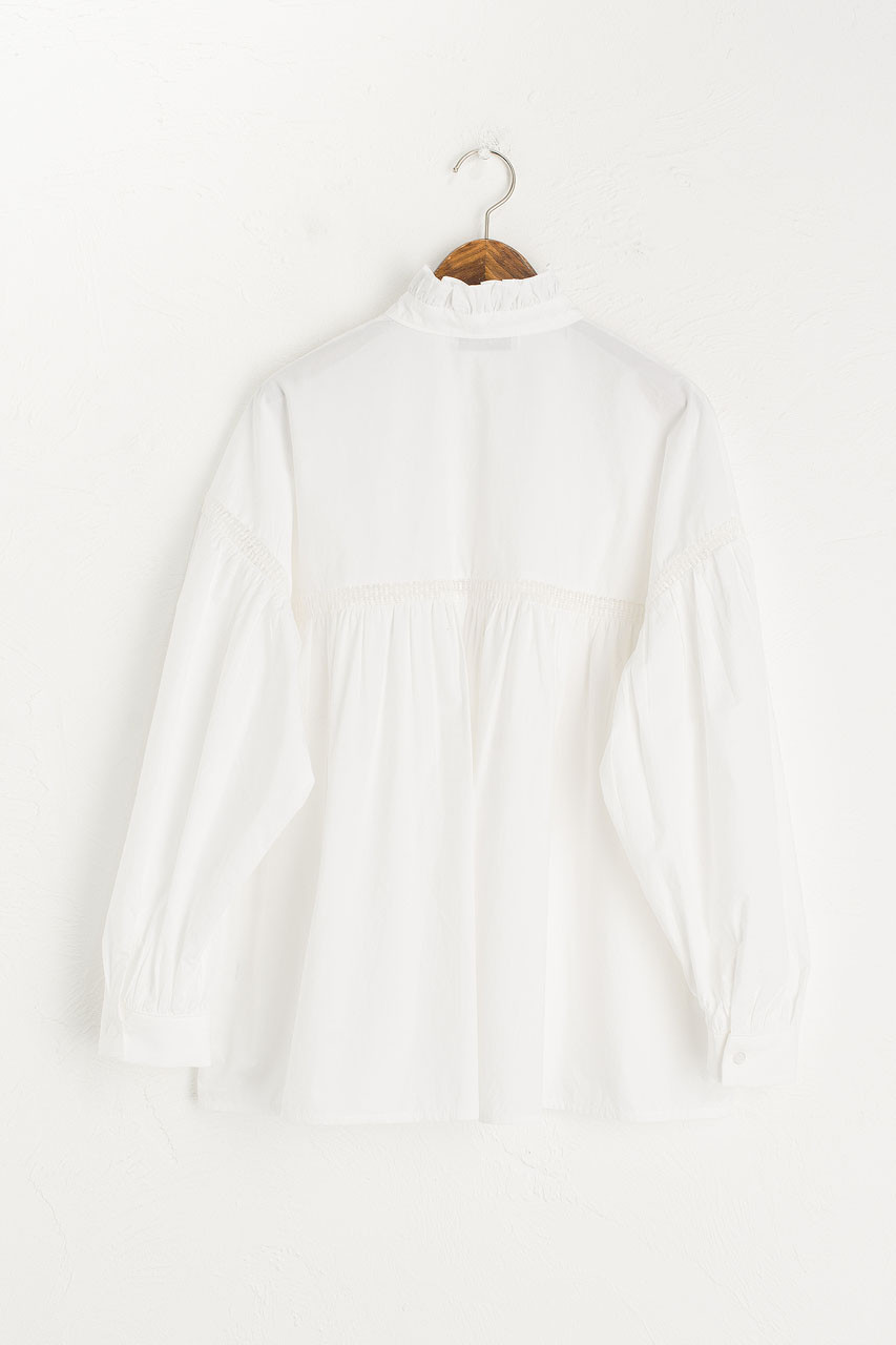 Victoria Frill Blouse, Ivory