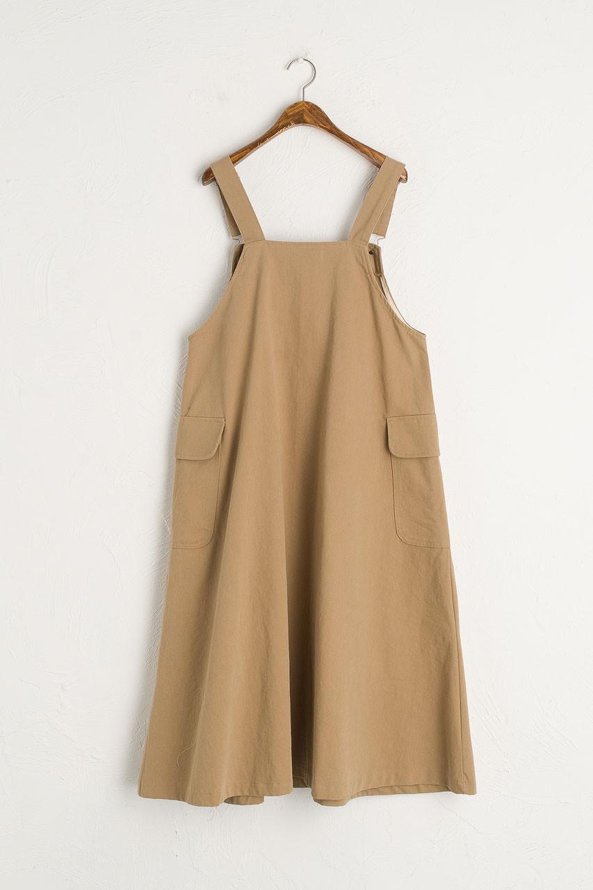 Big Pocket Dungaree Dress, Beige