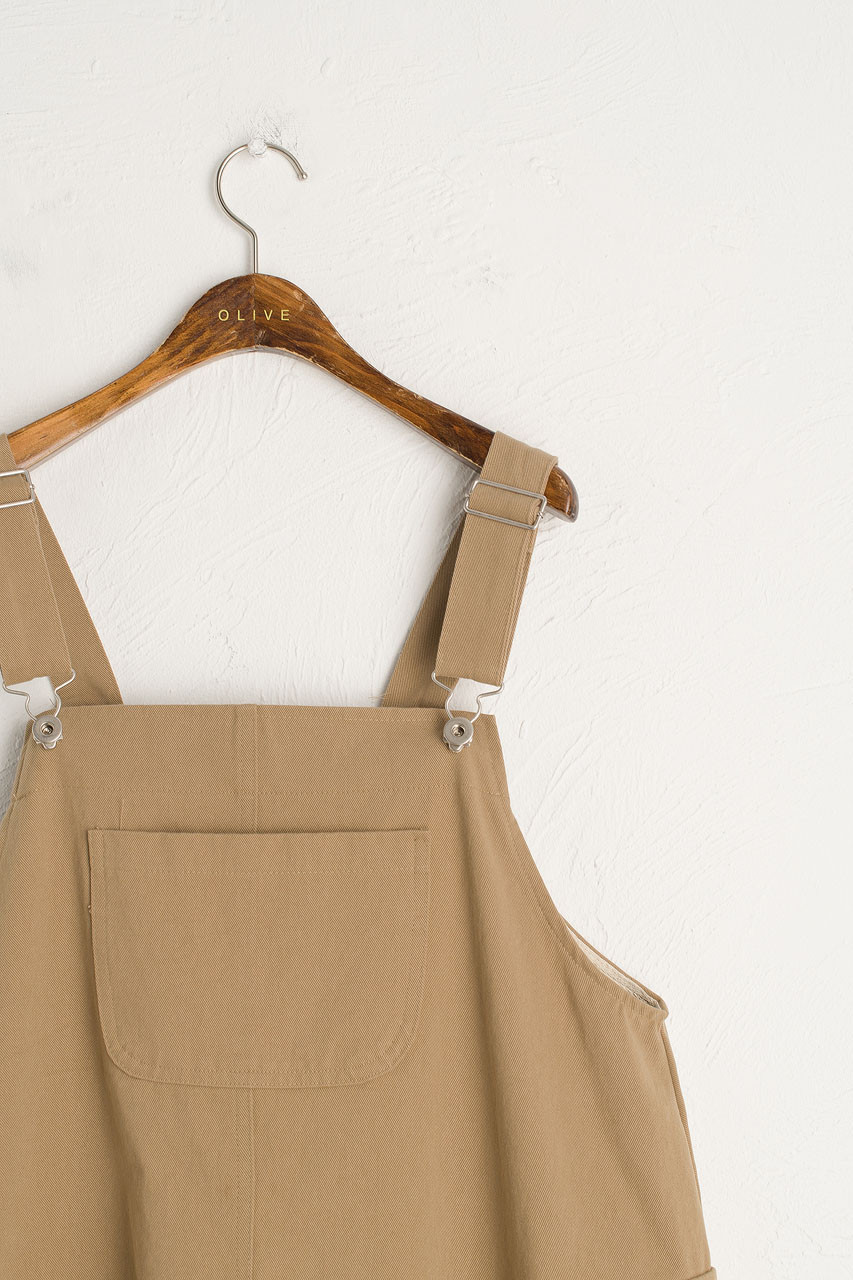 Big Pocket Dungaree Dress, Beige