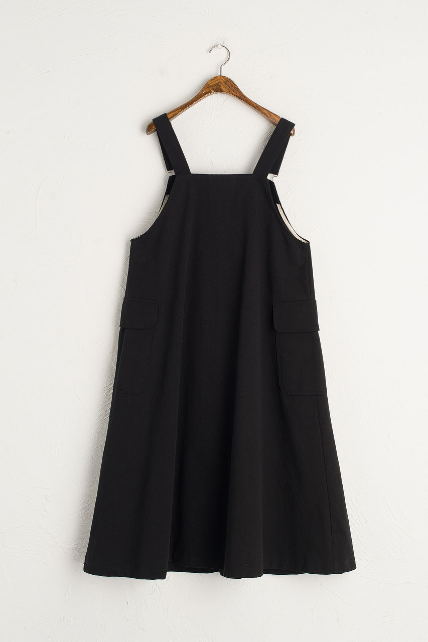 Big Pocket Dungaree Dress, Black