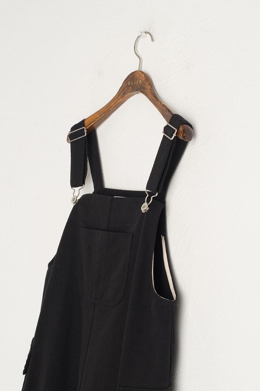 Big Pocket Dungaree Dress, Black