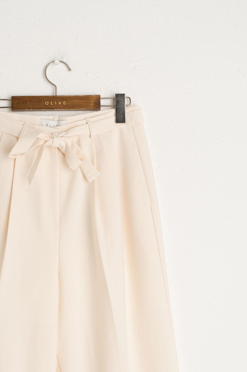 Jena Belted Slacks, Cream