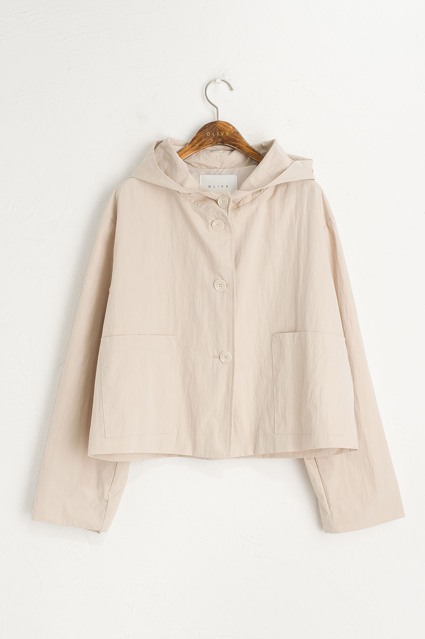 Short Hooded Jacket, Chamomile