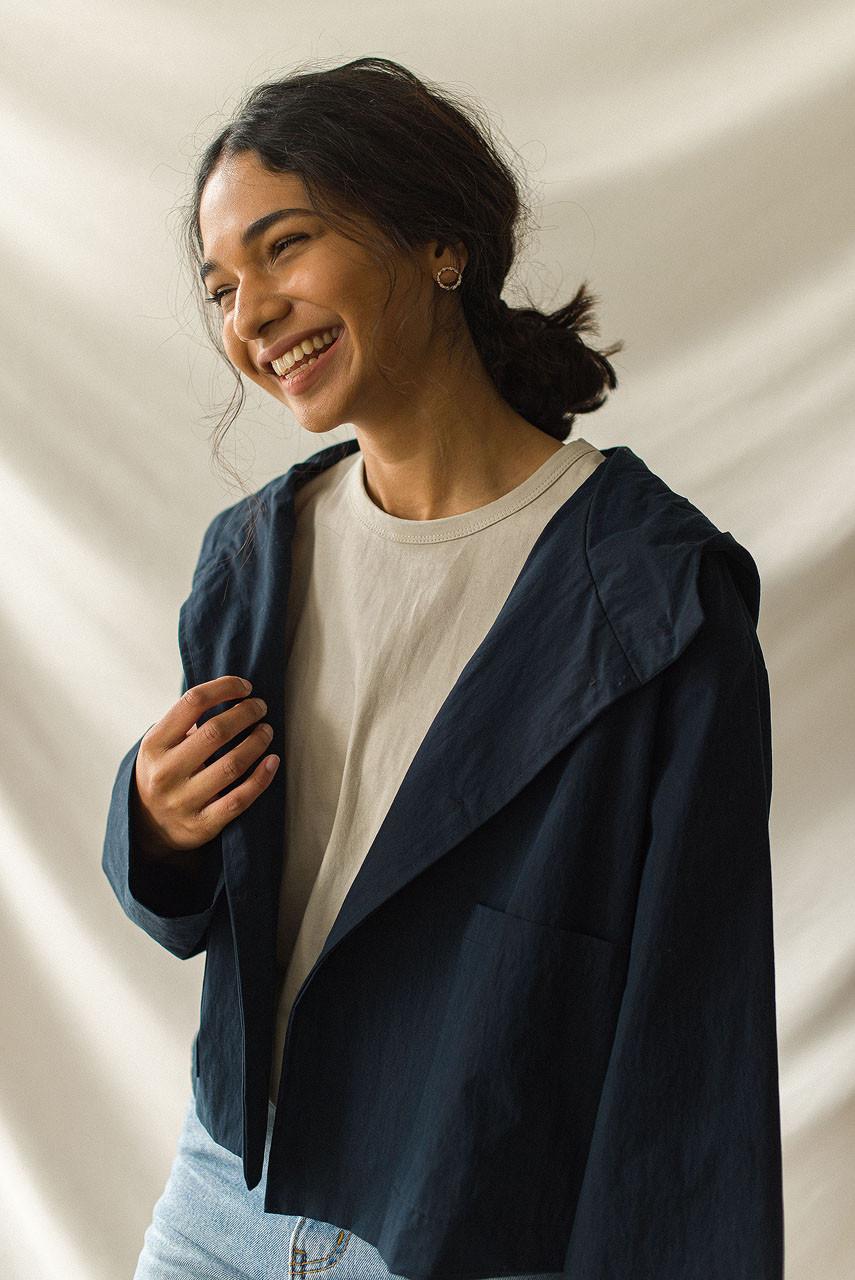 Short Hooded Jacket, Navy