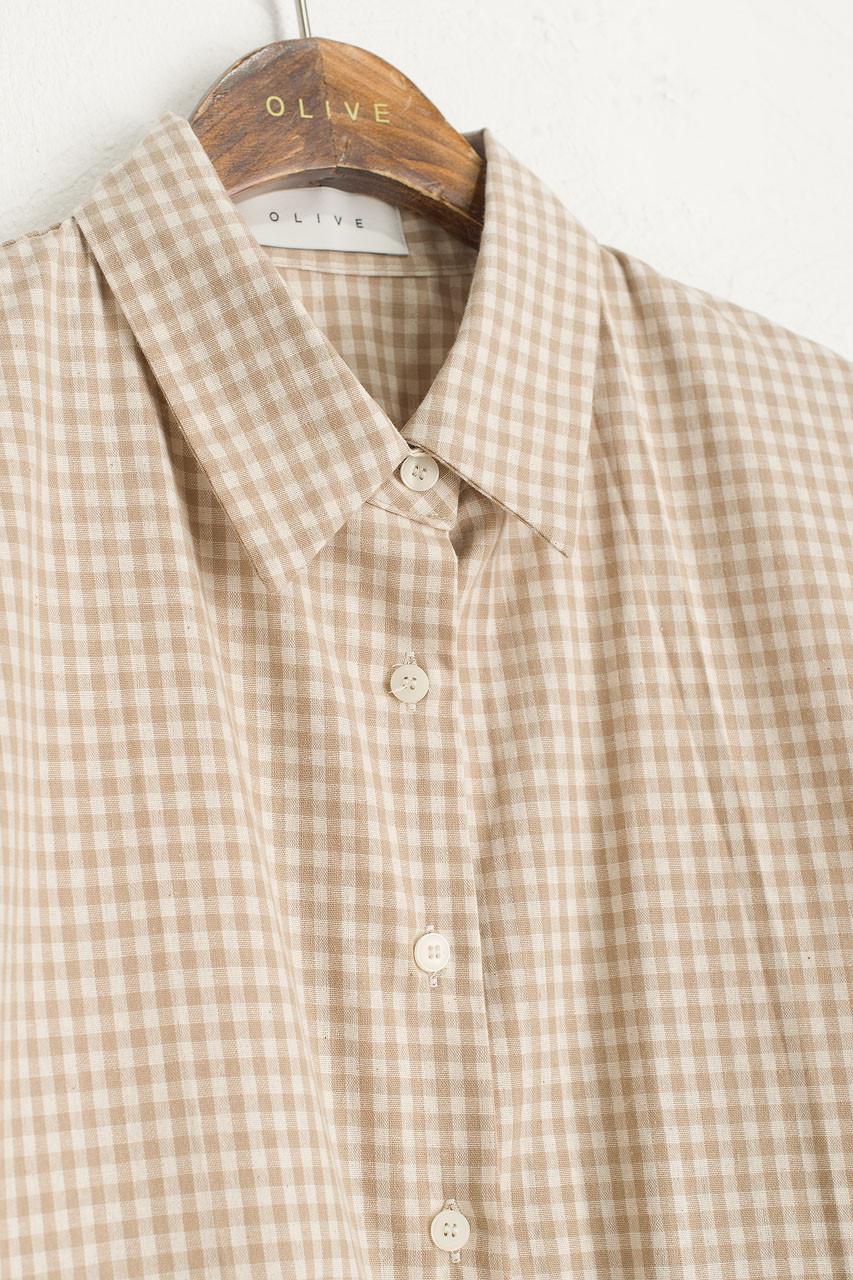 Lightweight Gingham Overshirt, Beige