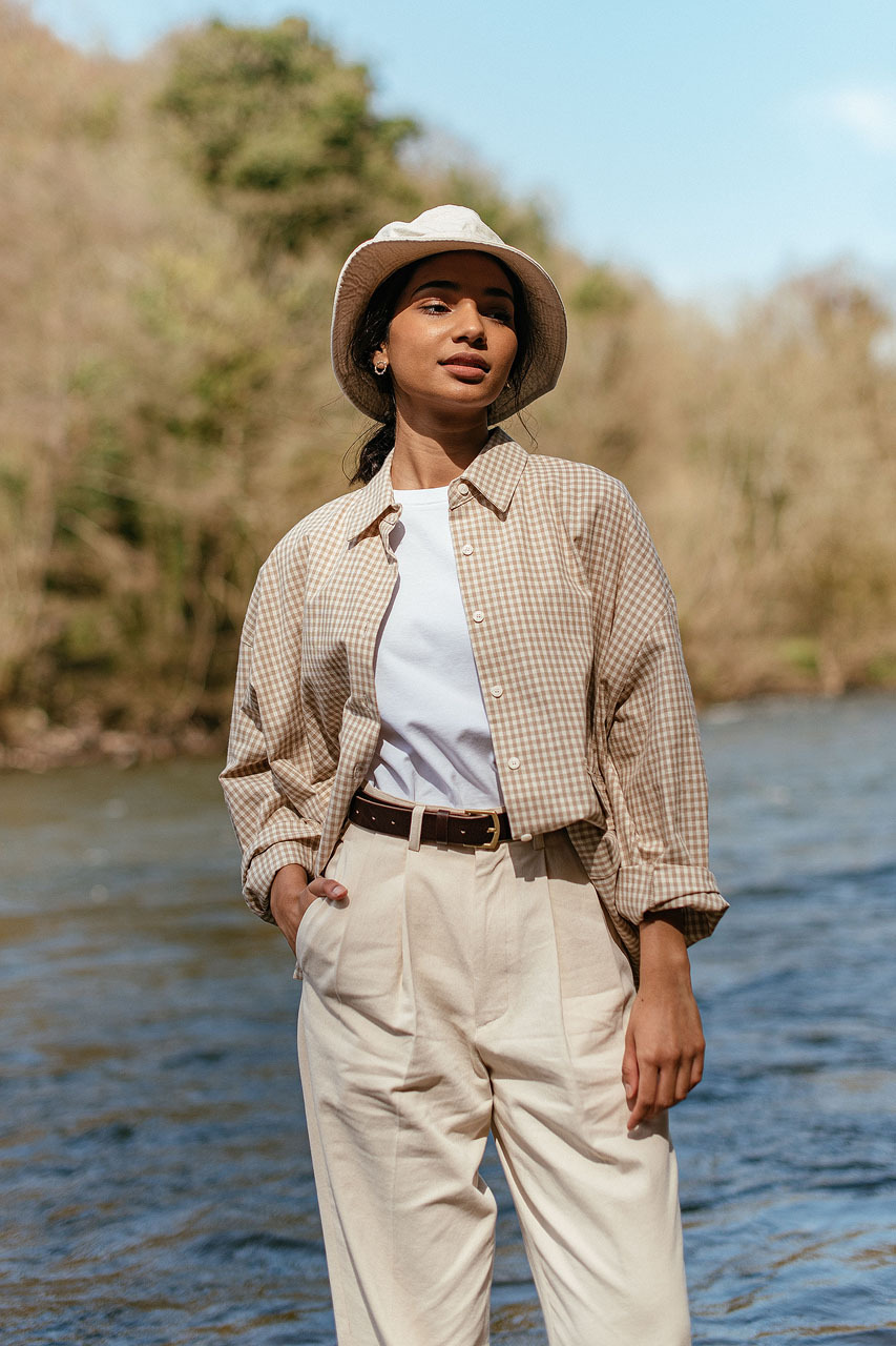 Lightweight Gingham Overshirt, Beige