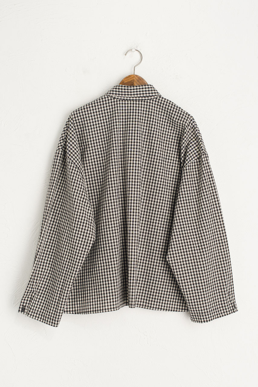 Lightweight Gingham Overshirt, Black