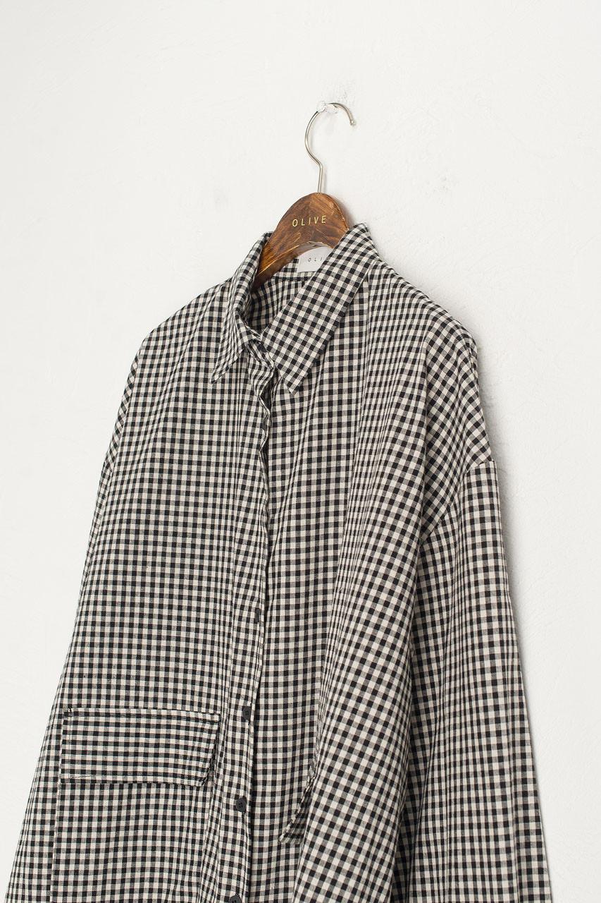 Lightweight Gingham Overshirt, Black