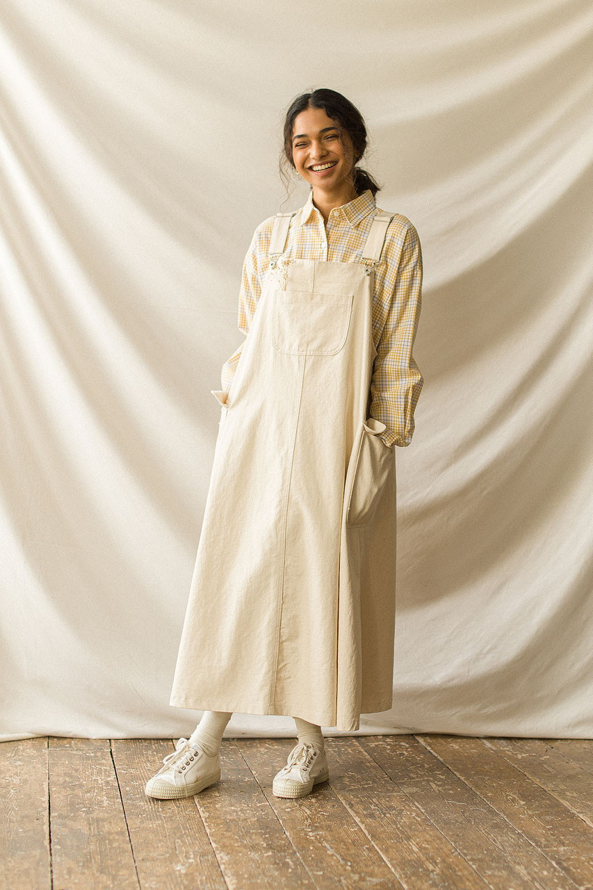 Big Pocket Dungaree Dress, Cream