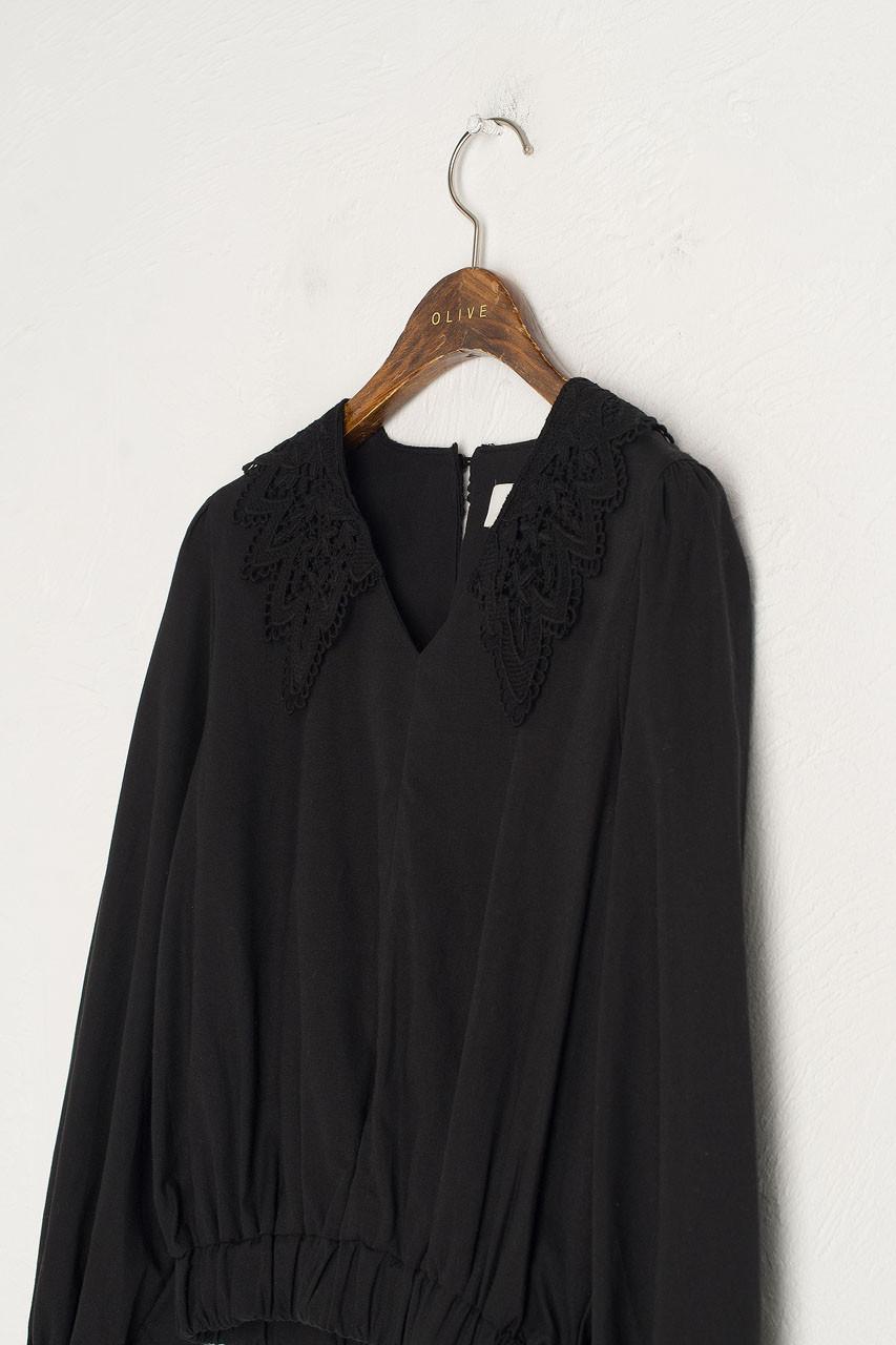 Crochet Collar Blouse, Black
