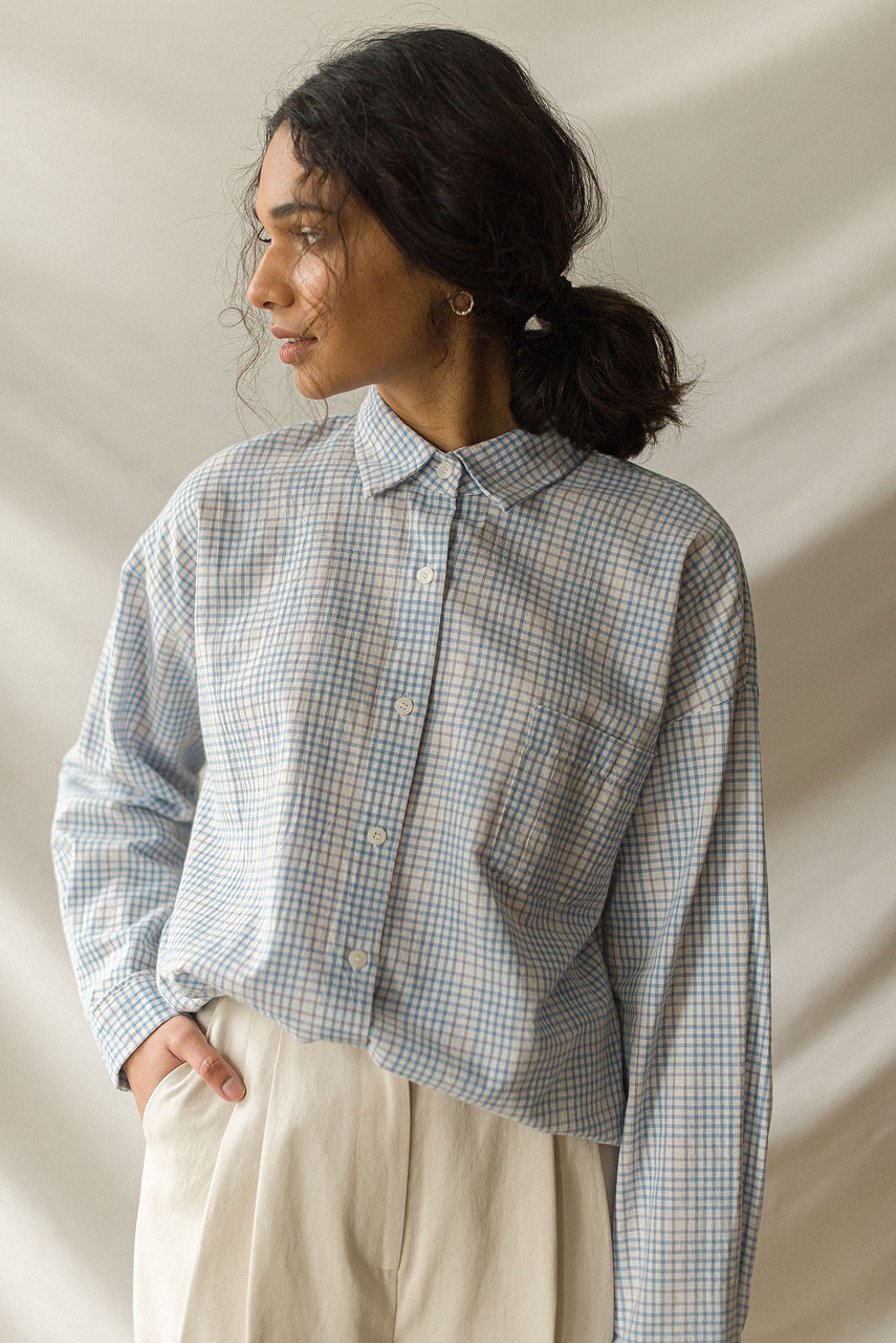 Emi Check Shirt, Blue
