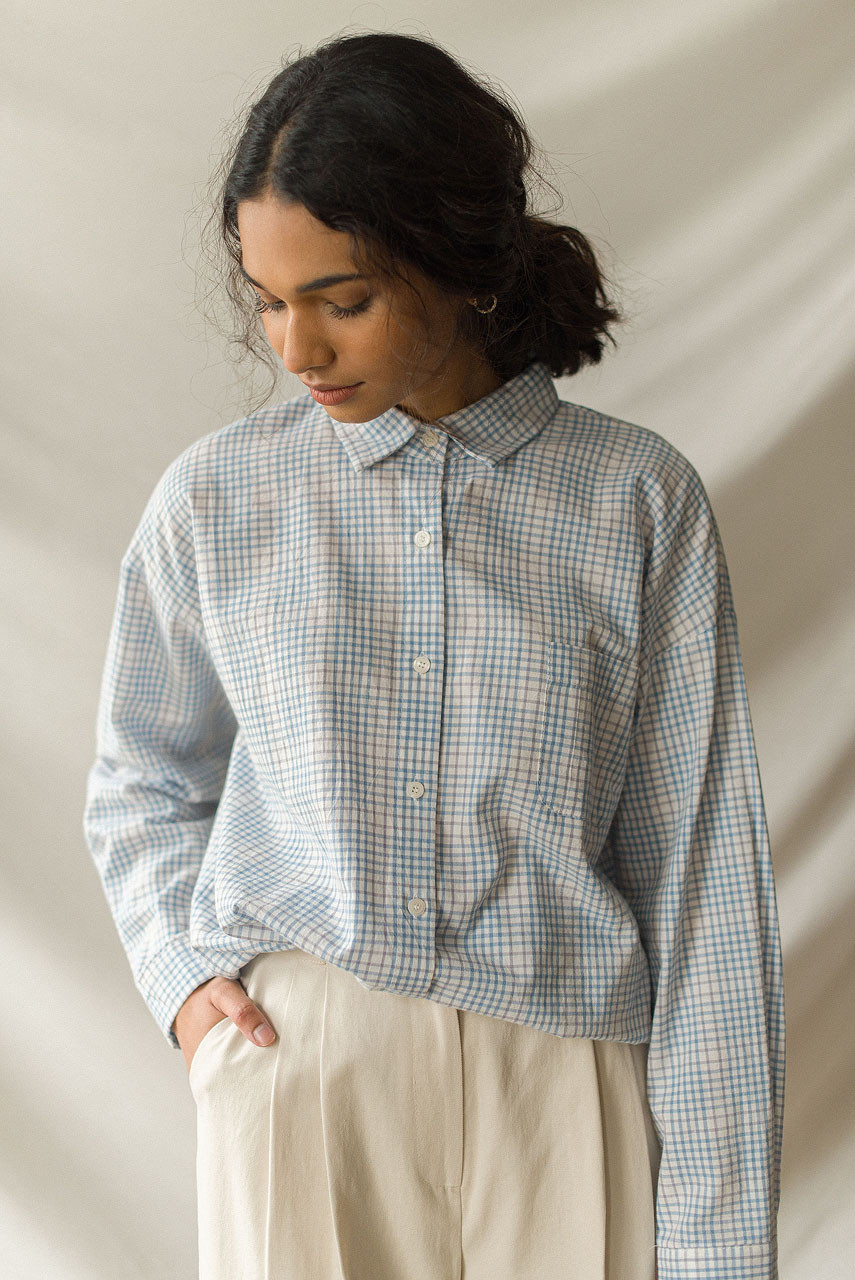 Emi Check Shirt, Blue