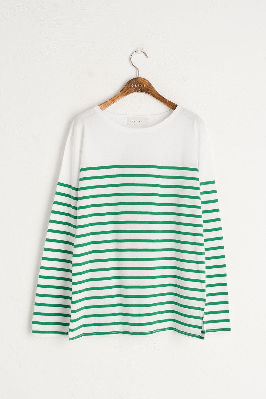 Half Stripe Tee, Green