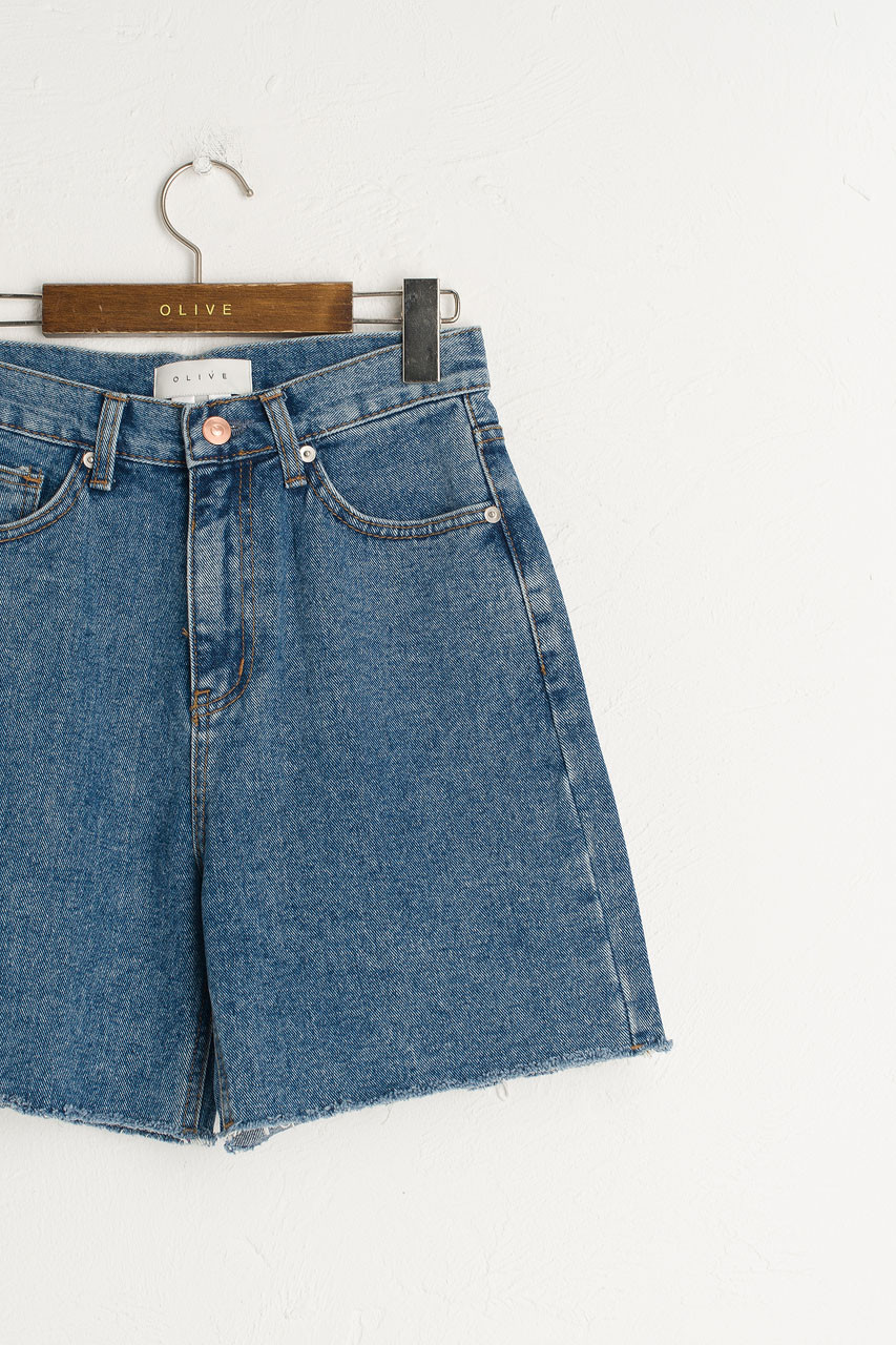 Denim Bermuda Shorts, Mid Blue
