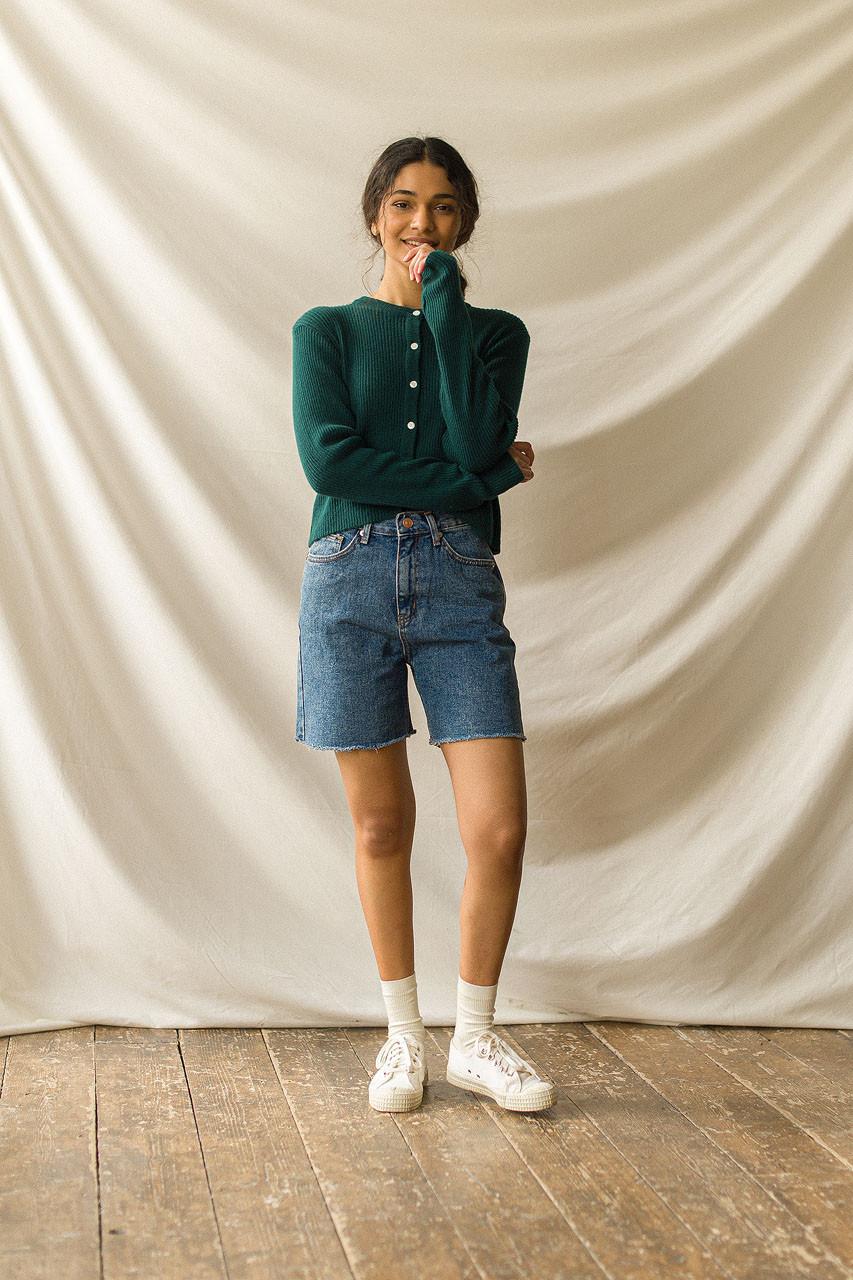 Denim Bermuda Shorts, Mid Blue