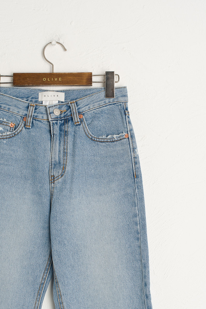 Vintage Washed Straight Jean, Light Blue