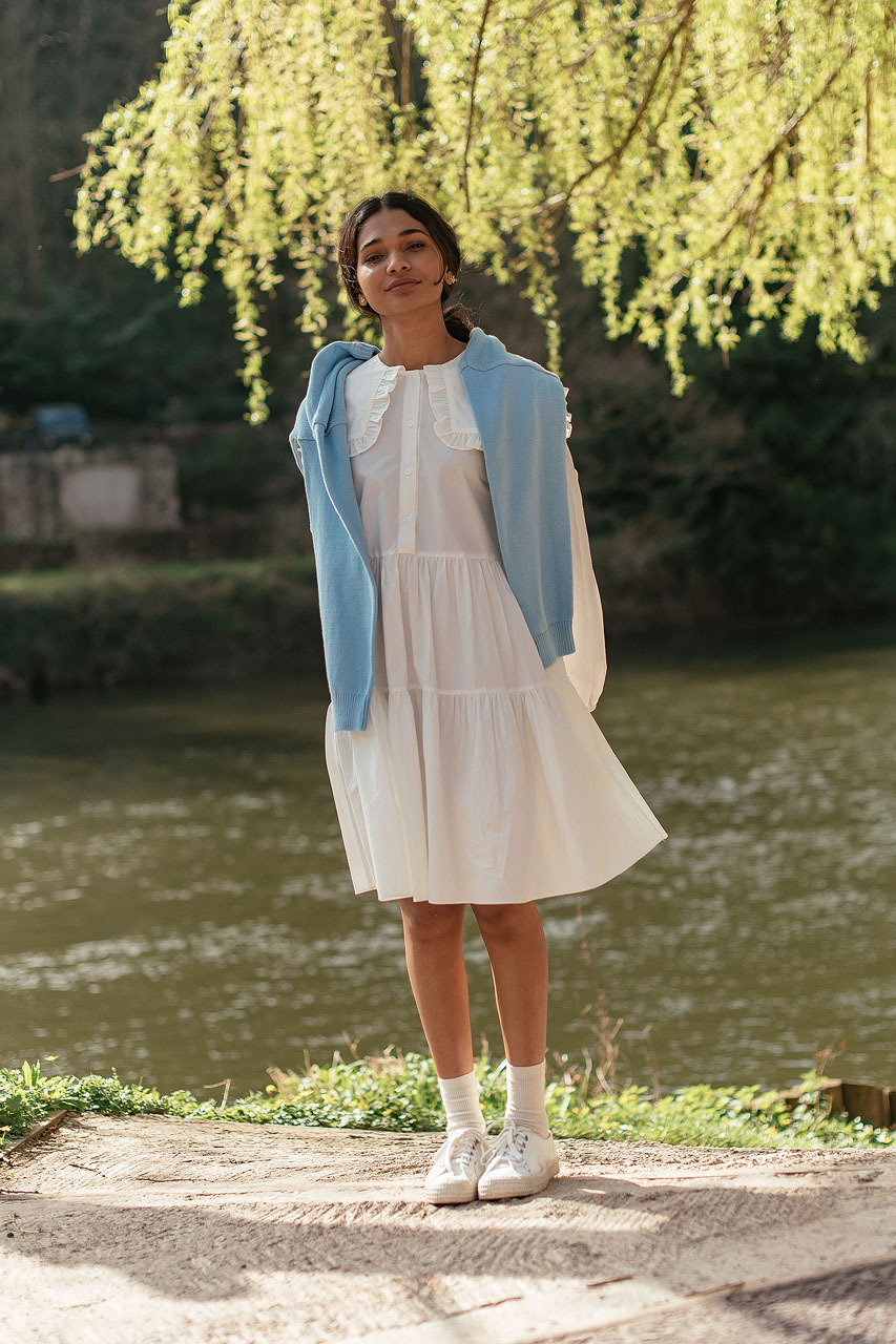 Big Collar Babydoll Dress, Ivory