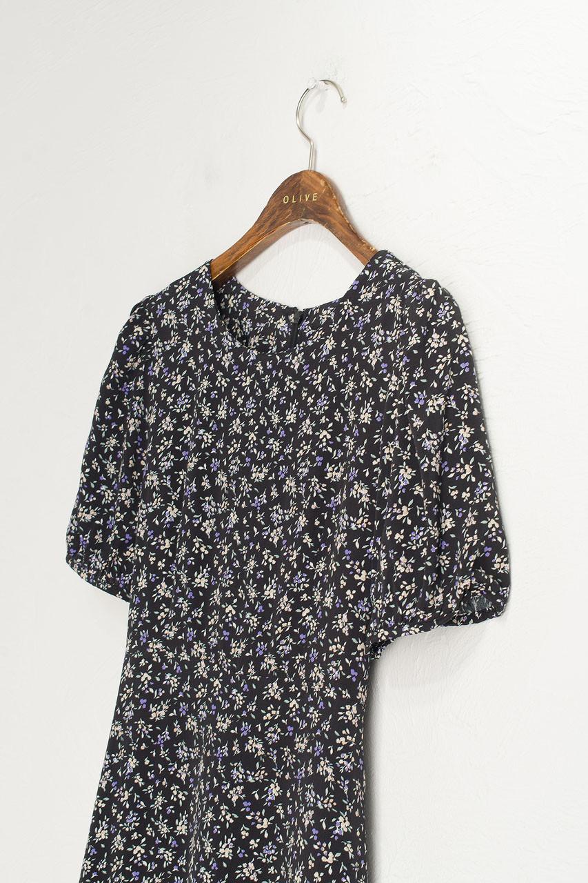 Wildflower Printed Dress, Black