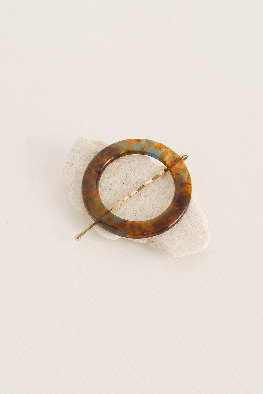 Alice Circle Pin, Pumpkin Tortoise Shell