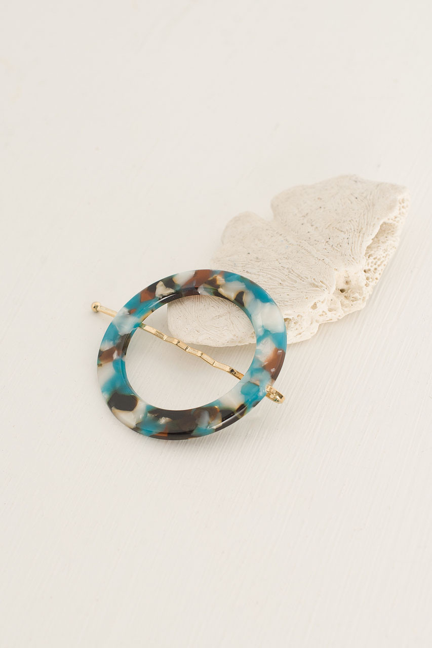 Alice Circle Pin, Turquoise Tortoise Shell
