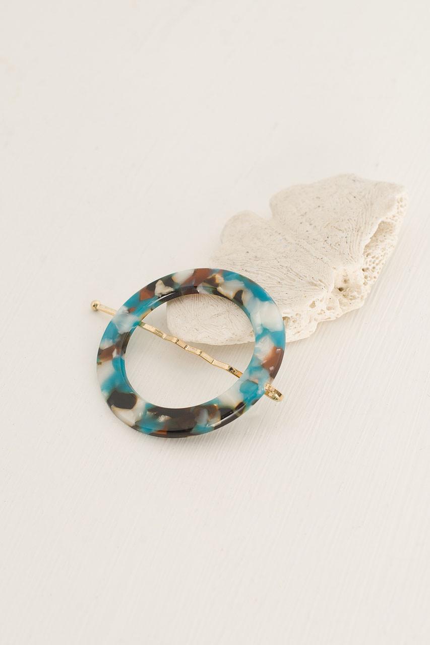 Alice Circle Pin, Turquoise Tortoise Shell