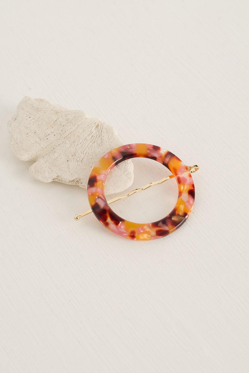 Alice Circle Pin, Grapefruit Tortoise Shell
