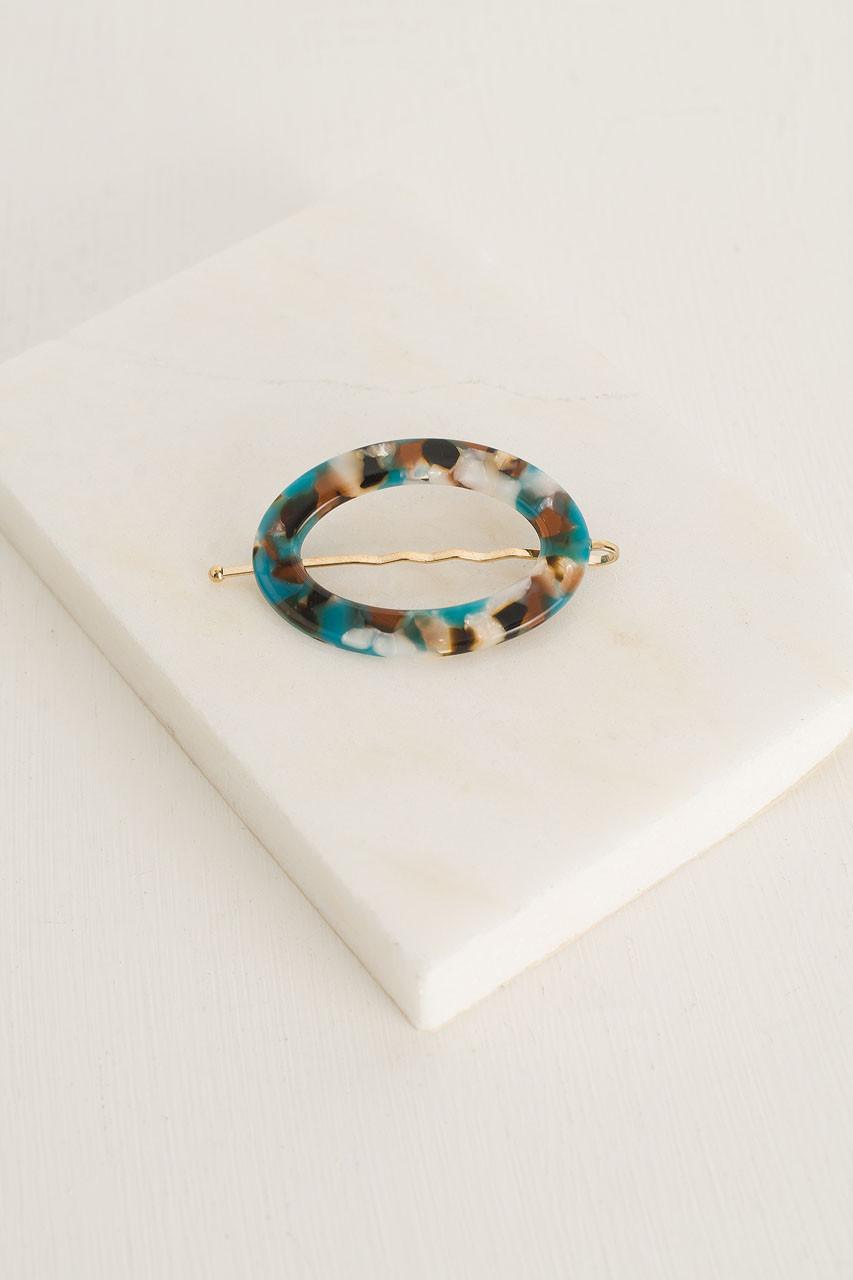 Naomi Oval Pin, Turquoise Tortoise Shell