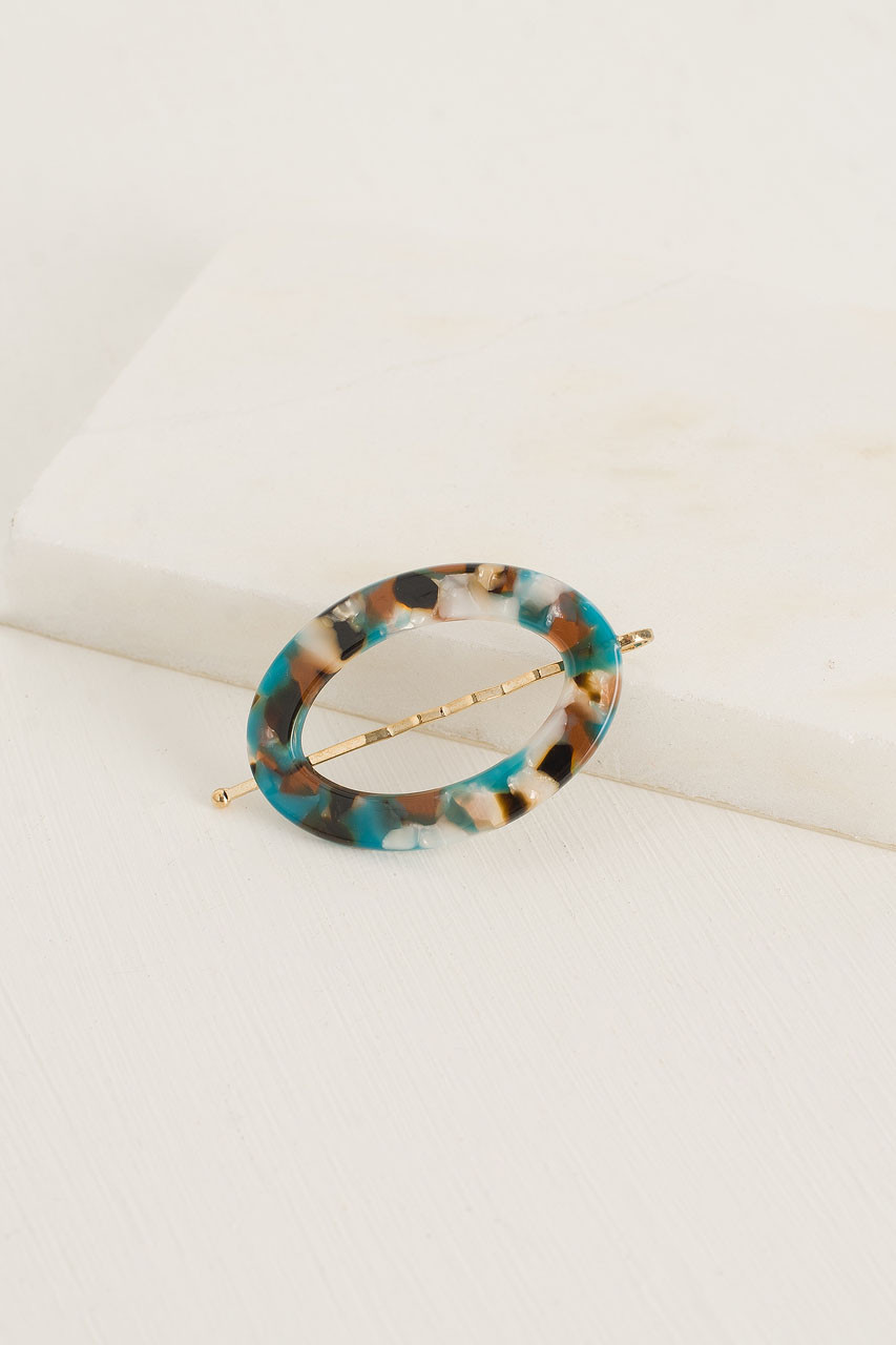 Naomi Oval Pin, Turquoise Tortoise Shell