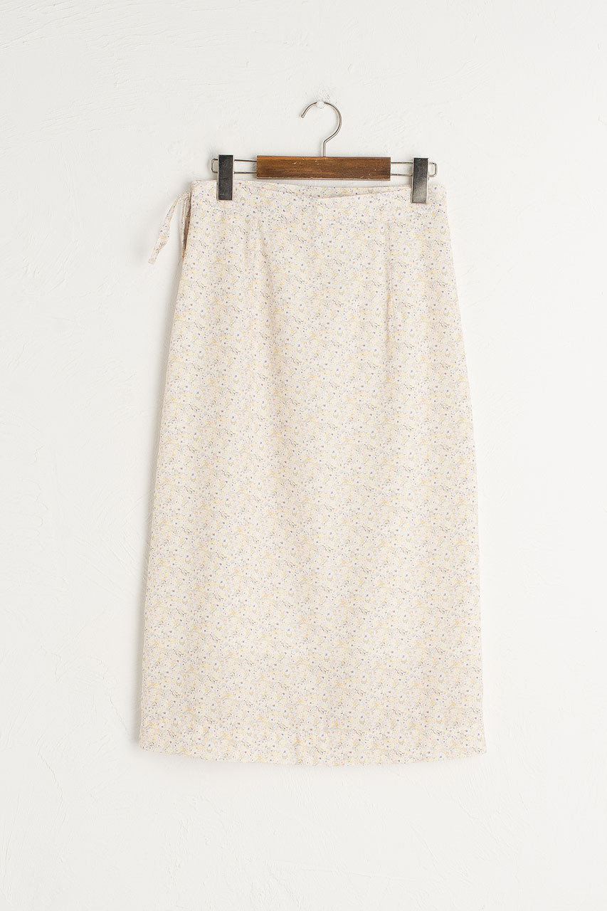 Jay Floral Wrap Skirt, Lemon