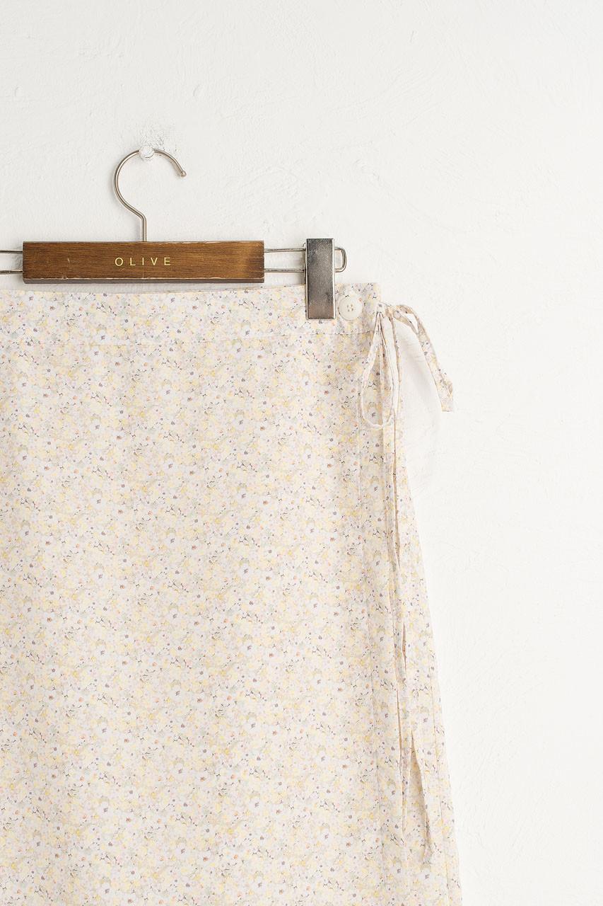 Jay Floral Wrap Skirt, Lemon