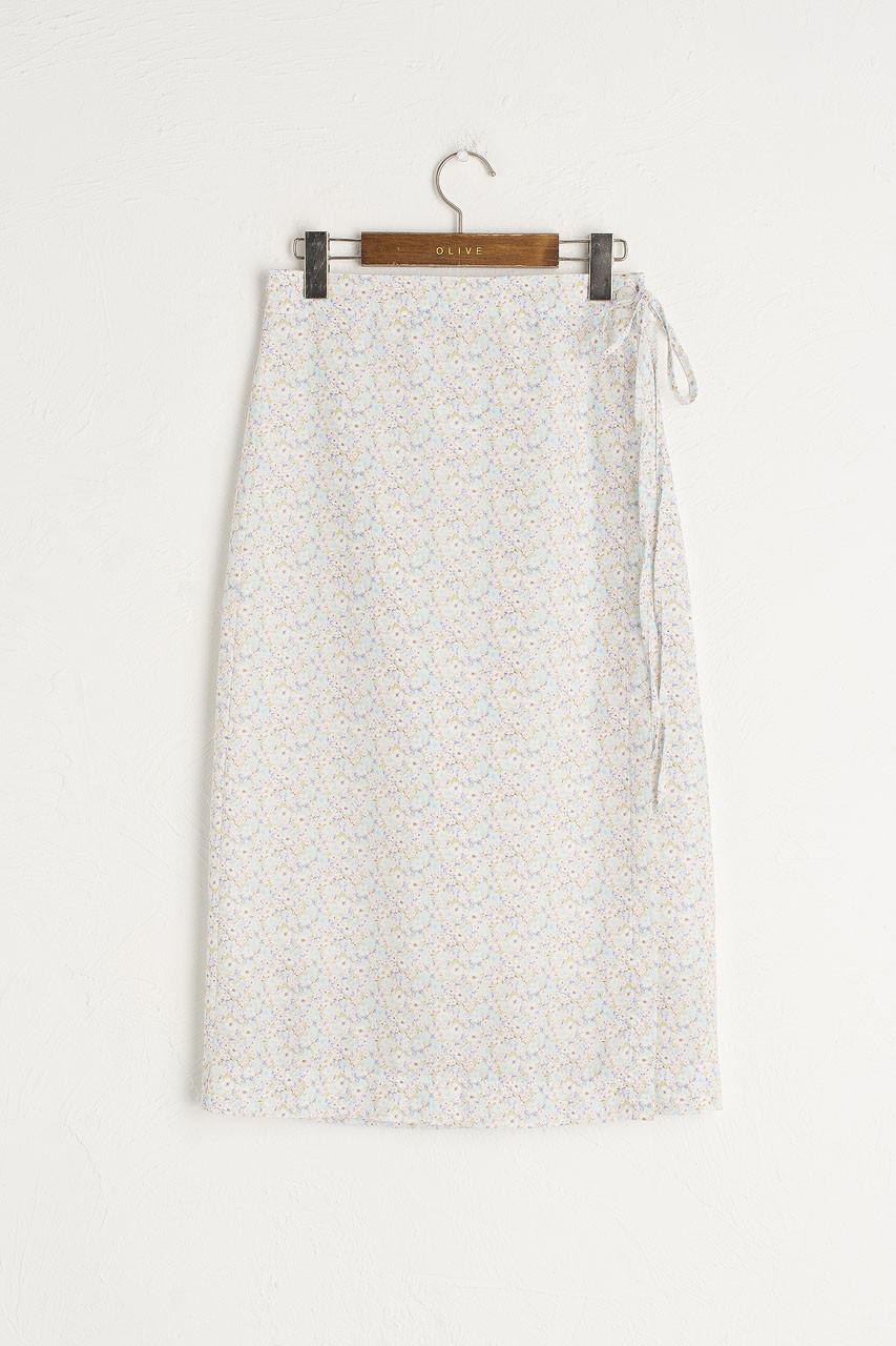 Jay Floral Wrap Skirt, Blue
