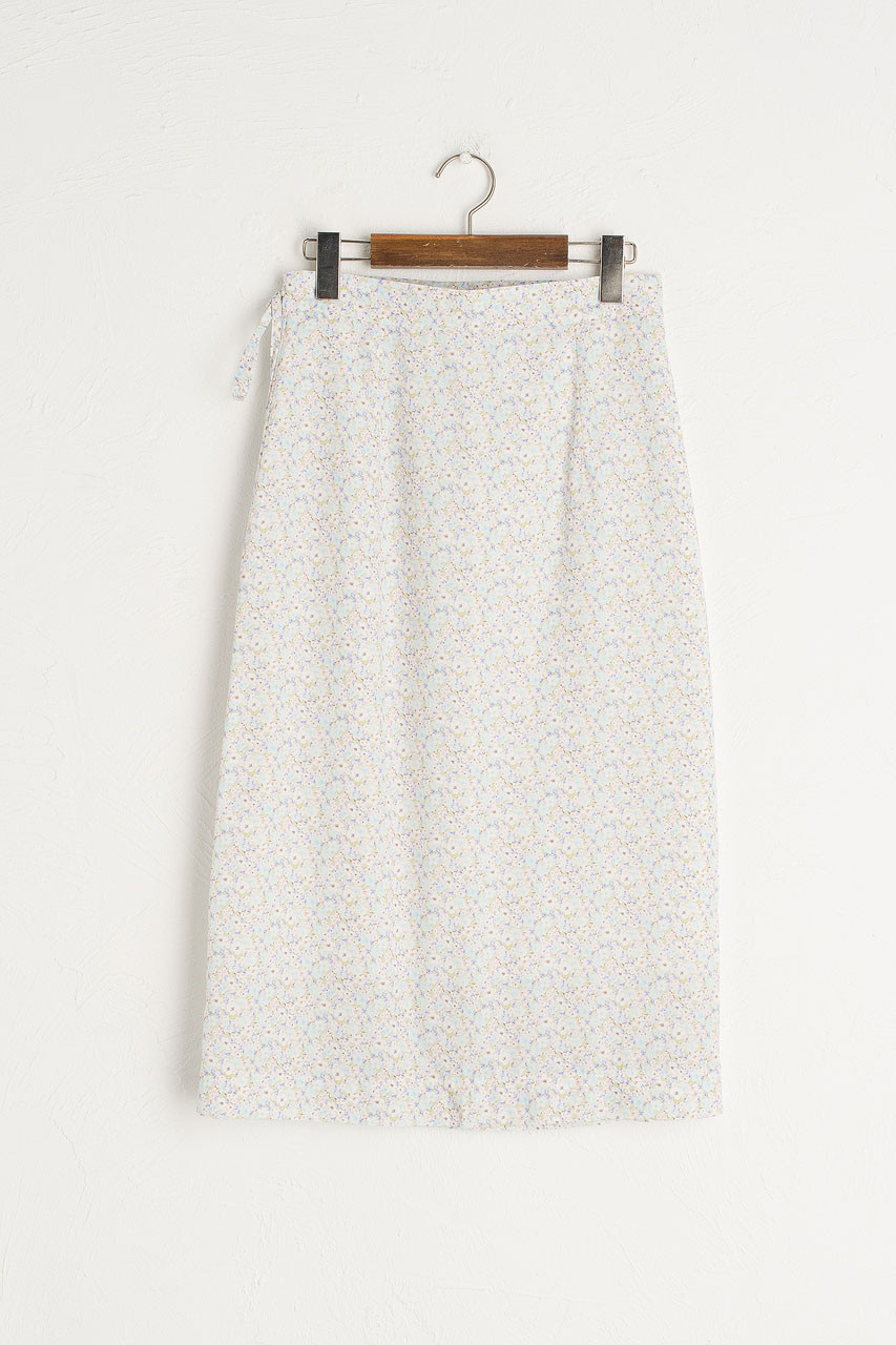 Jay Floral Wrap Skirt, Blue