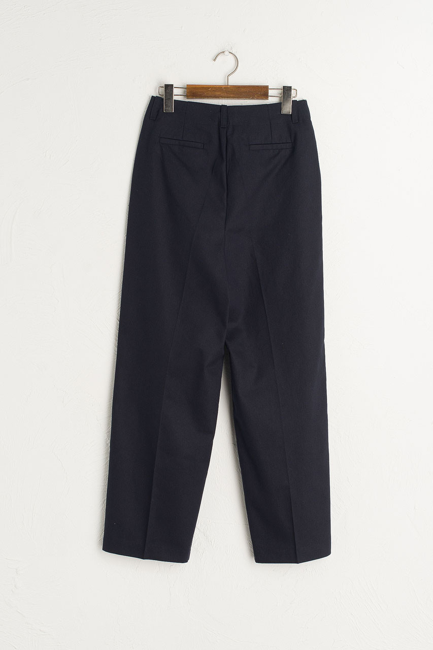 Cotton Tailored Pants, Navy