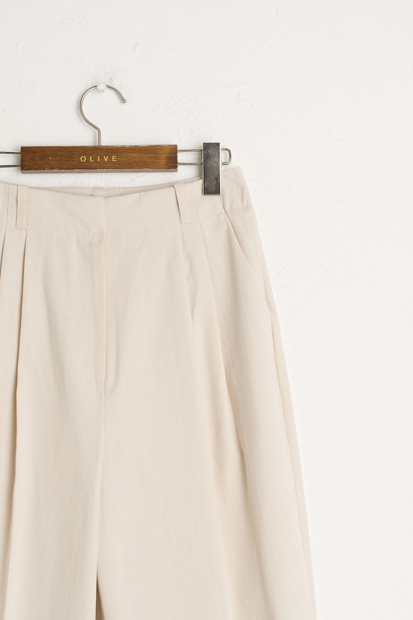 Cotton Tailored Pants, Ivory