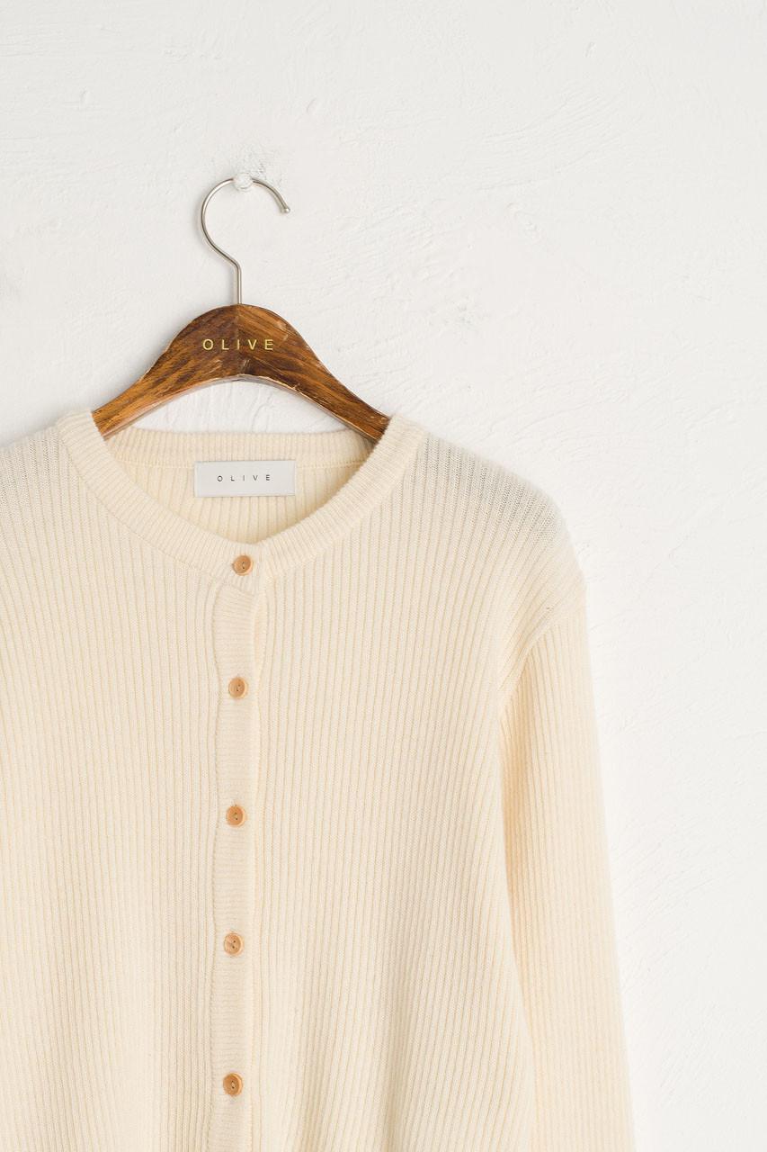 Simple Ribbed Cardigan, Cream