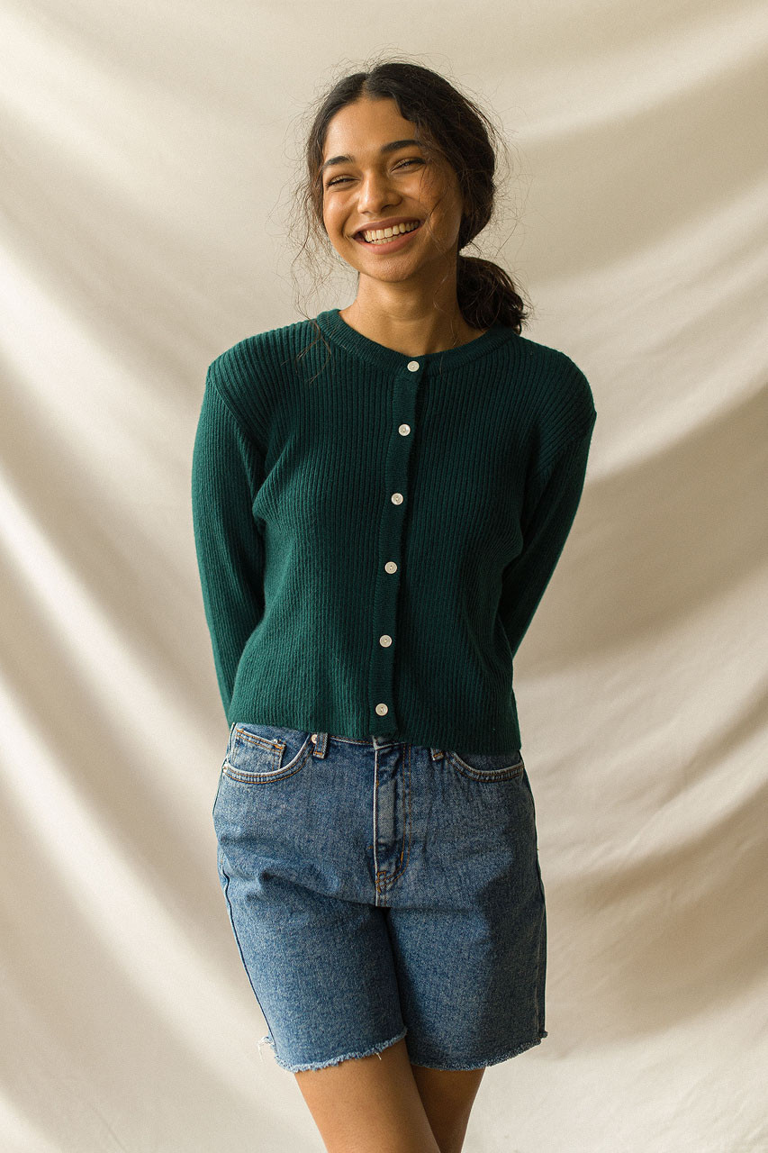 Simple Ribbed Cardigan, Teal