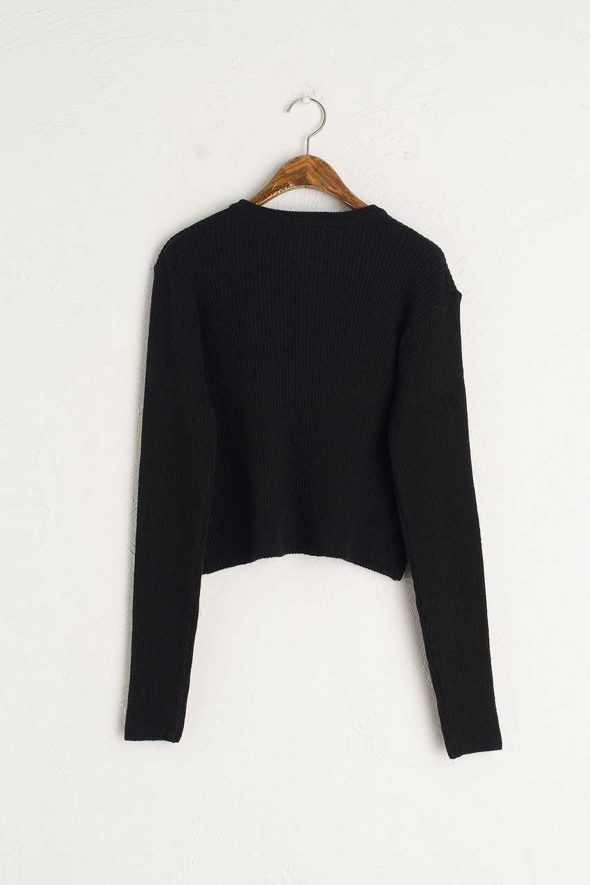 Simple Ribbed Cardigan, Black