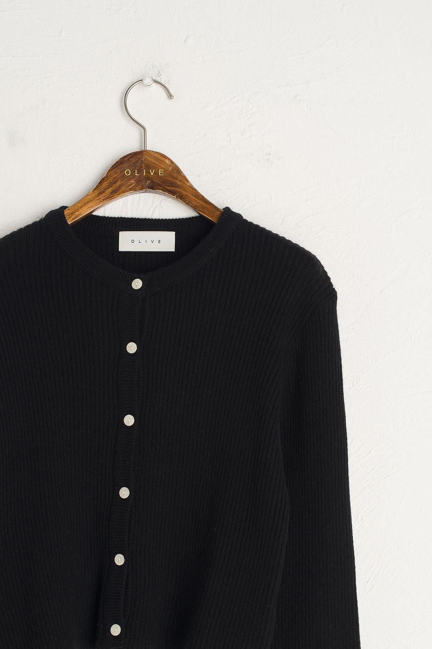 Simple Ribbed Cardigan, Black