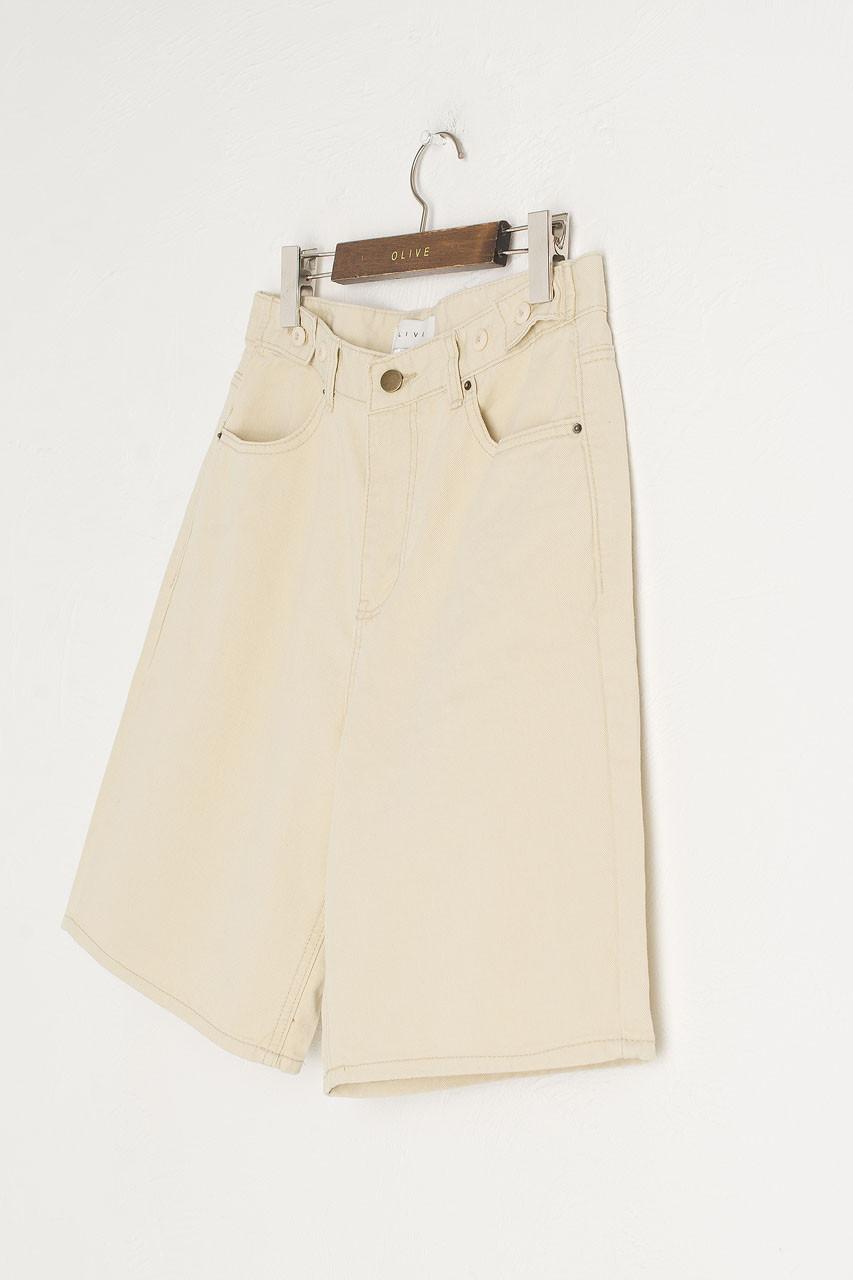 Denim Cargo Shorts, Beige