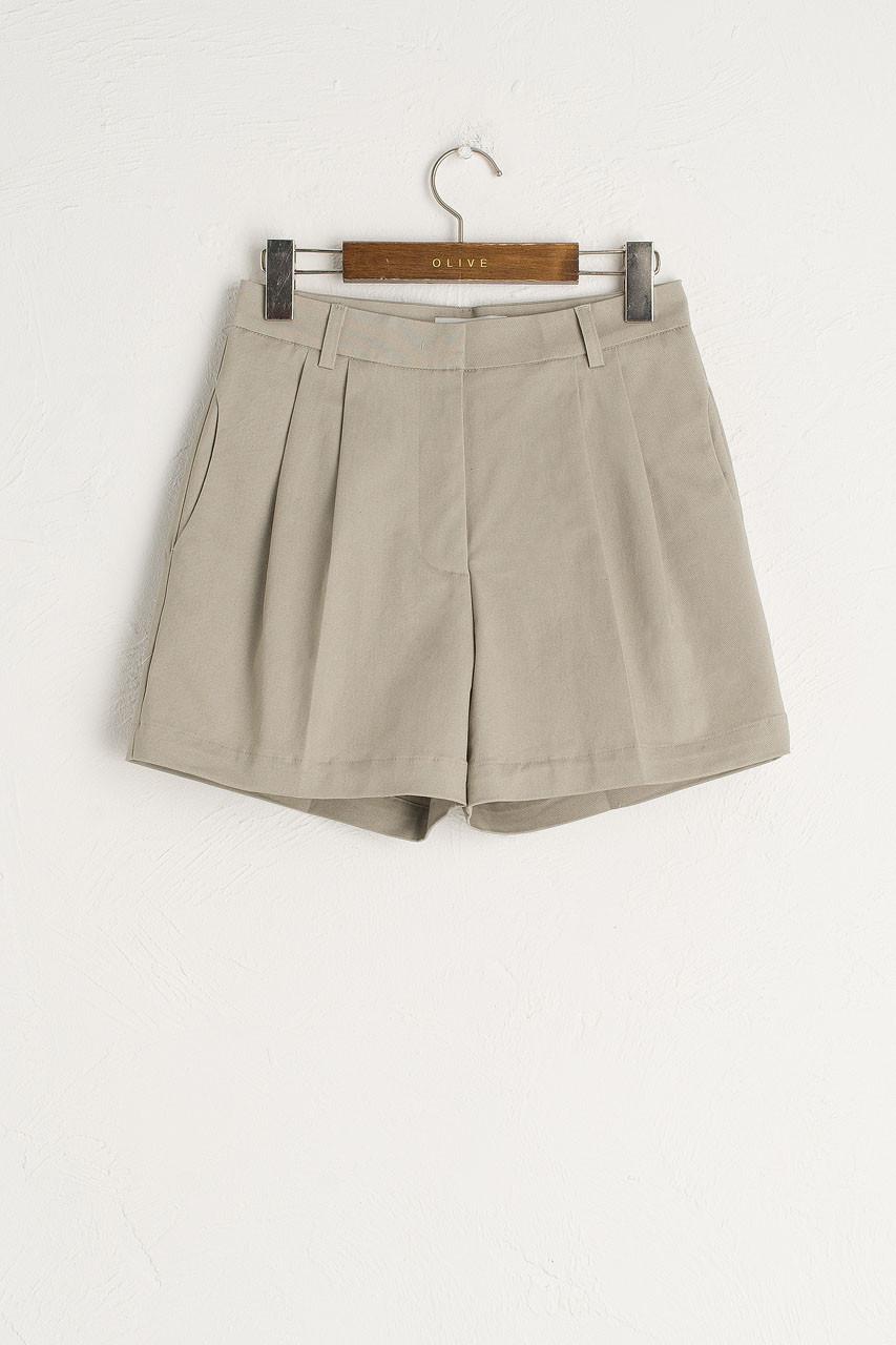 Pintuck Cotton Short, Beige