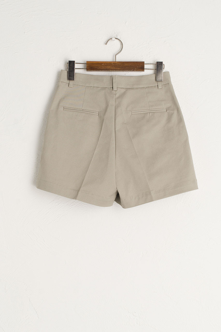 Pintuck Cotton Short, Beige