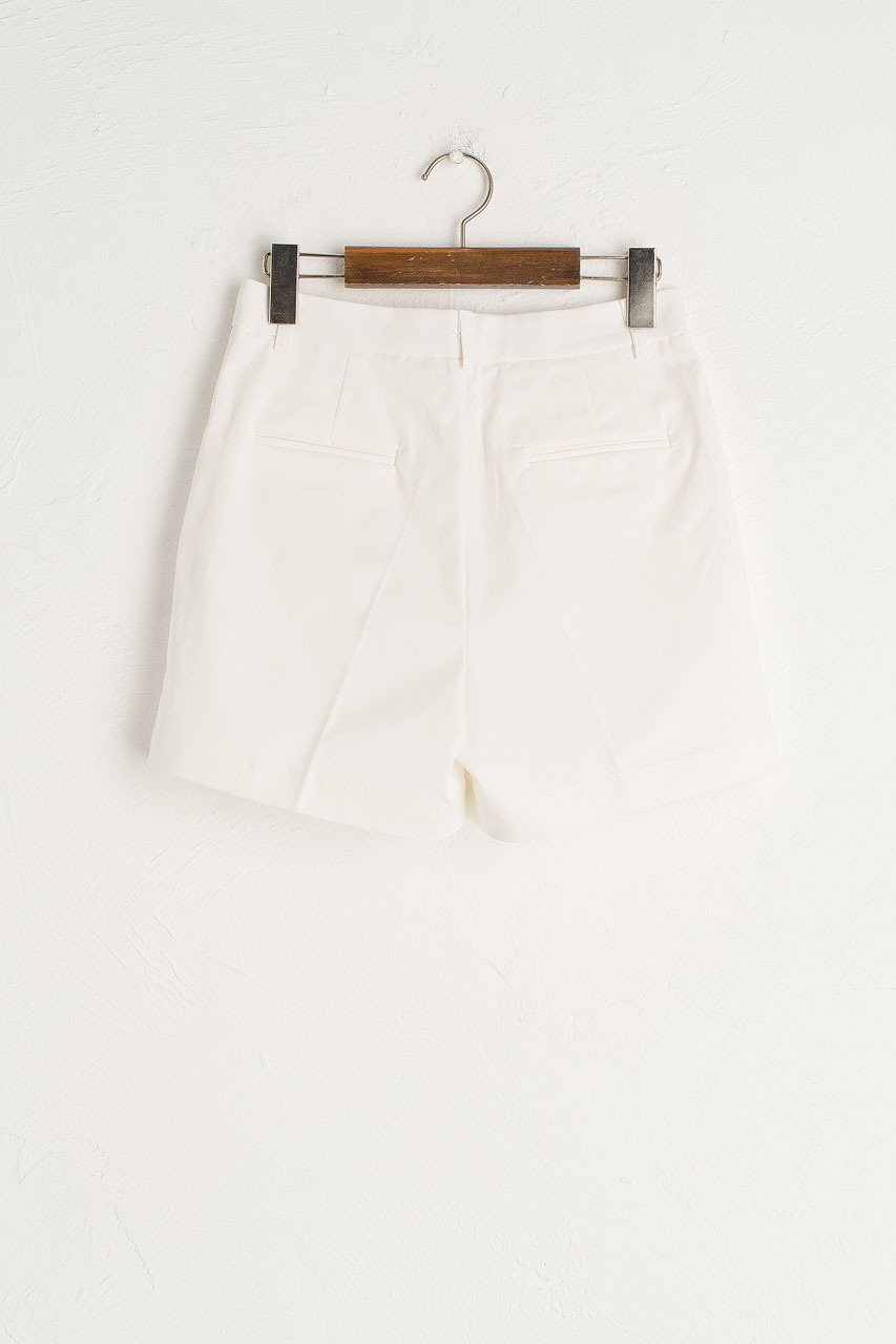 Pintuck Cotton Short, Ivory