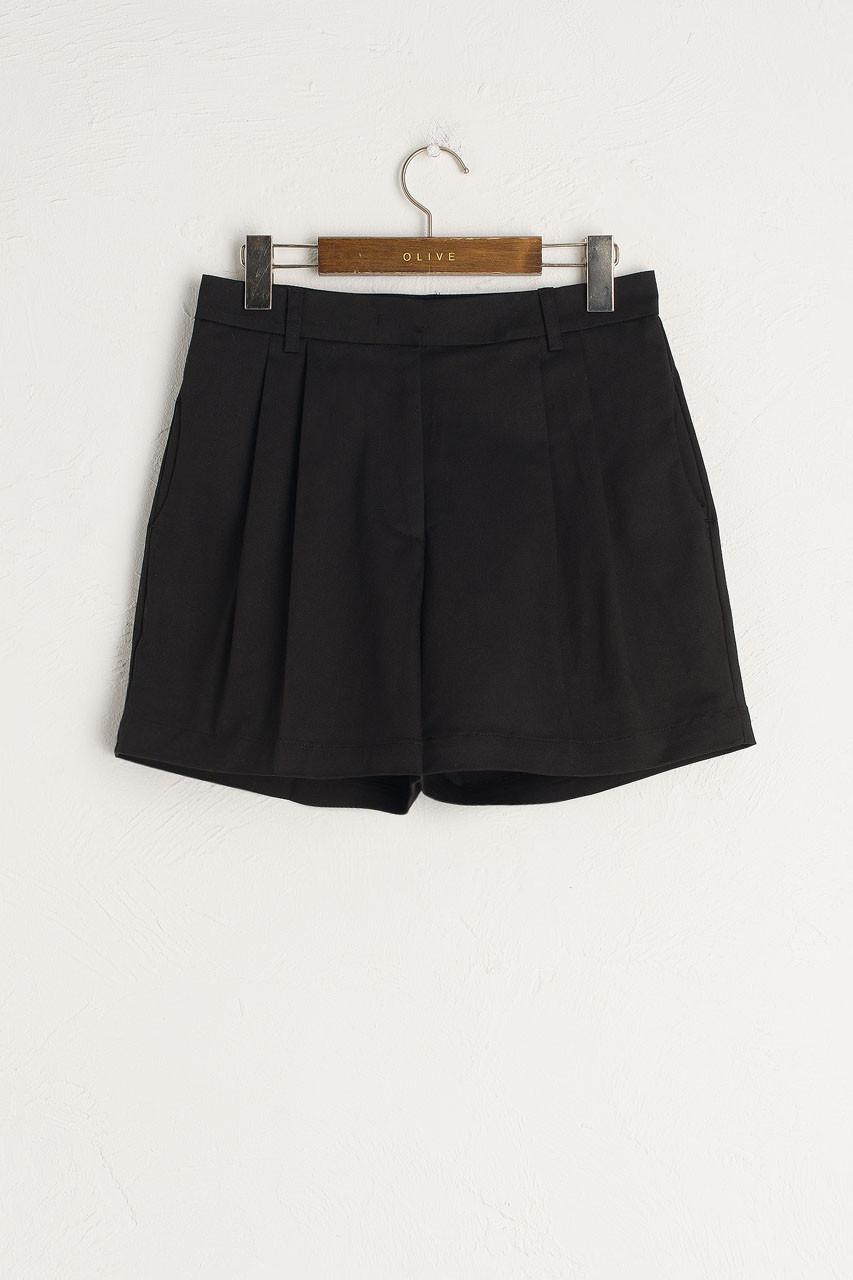 Pintuck Cotton Short, Black