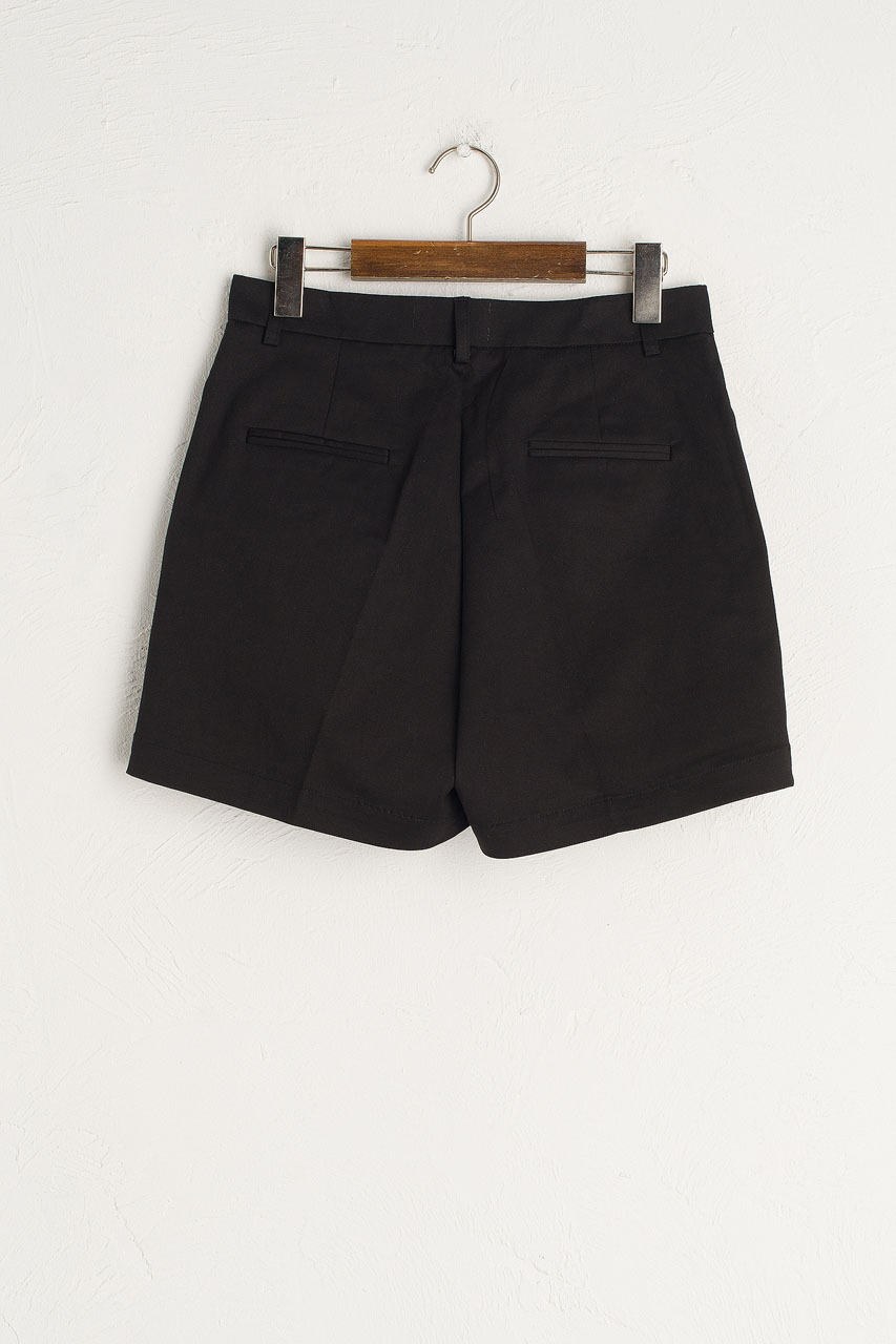 Pintuck Cotton Short, Black
