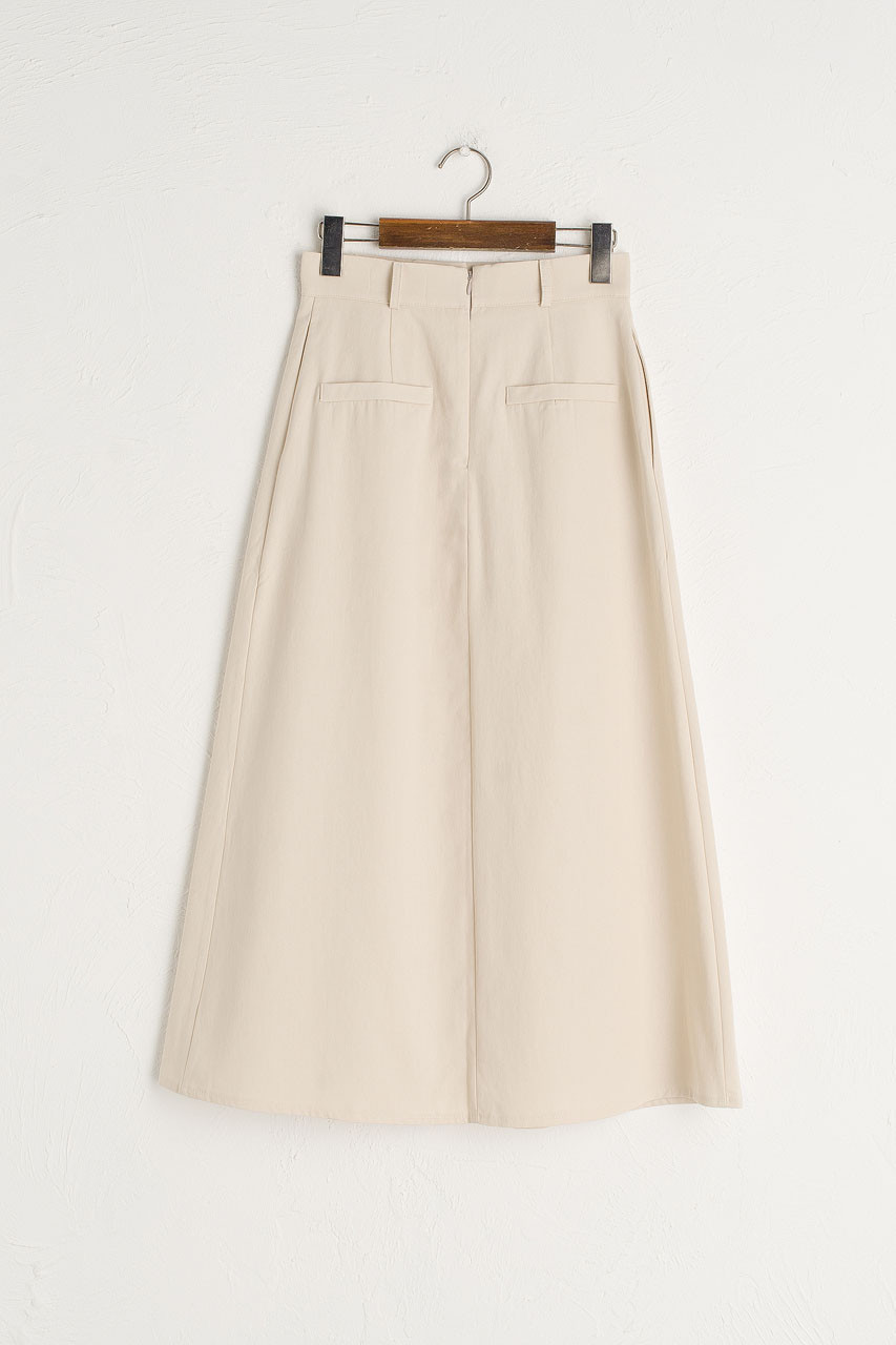 Cotton Twill Pintuck Skirt, Ivory