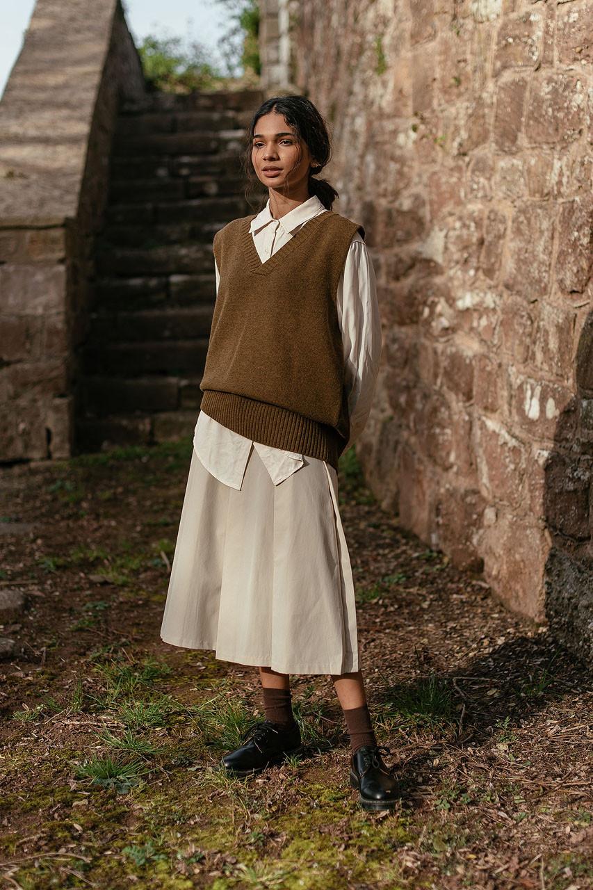 Cotton Twill Pintuck Skirt, Ivory
