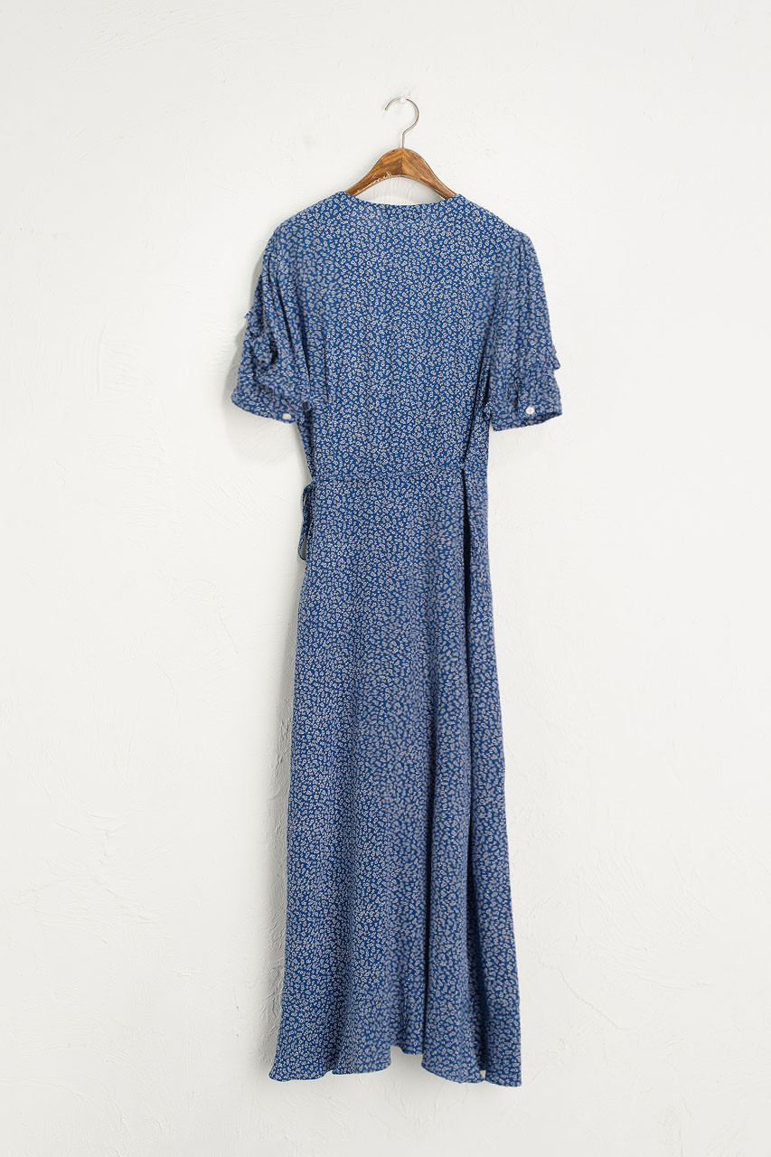 Frill Wrap Maxi Dress, Blue