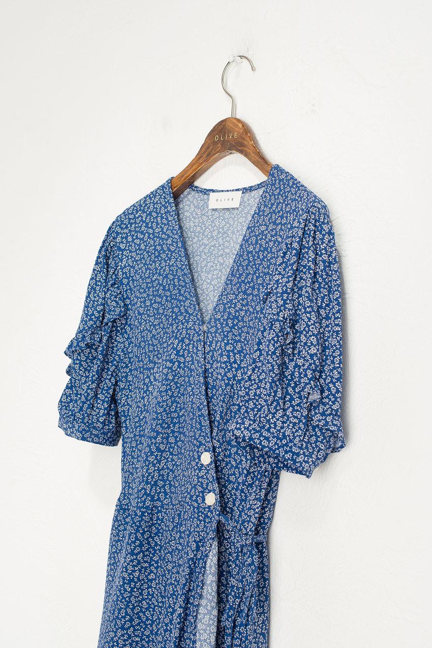 Frill Wrap Maxi Dress, Blue